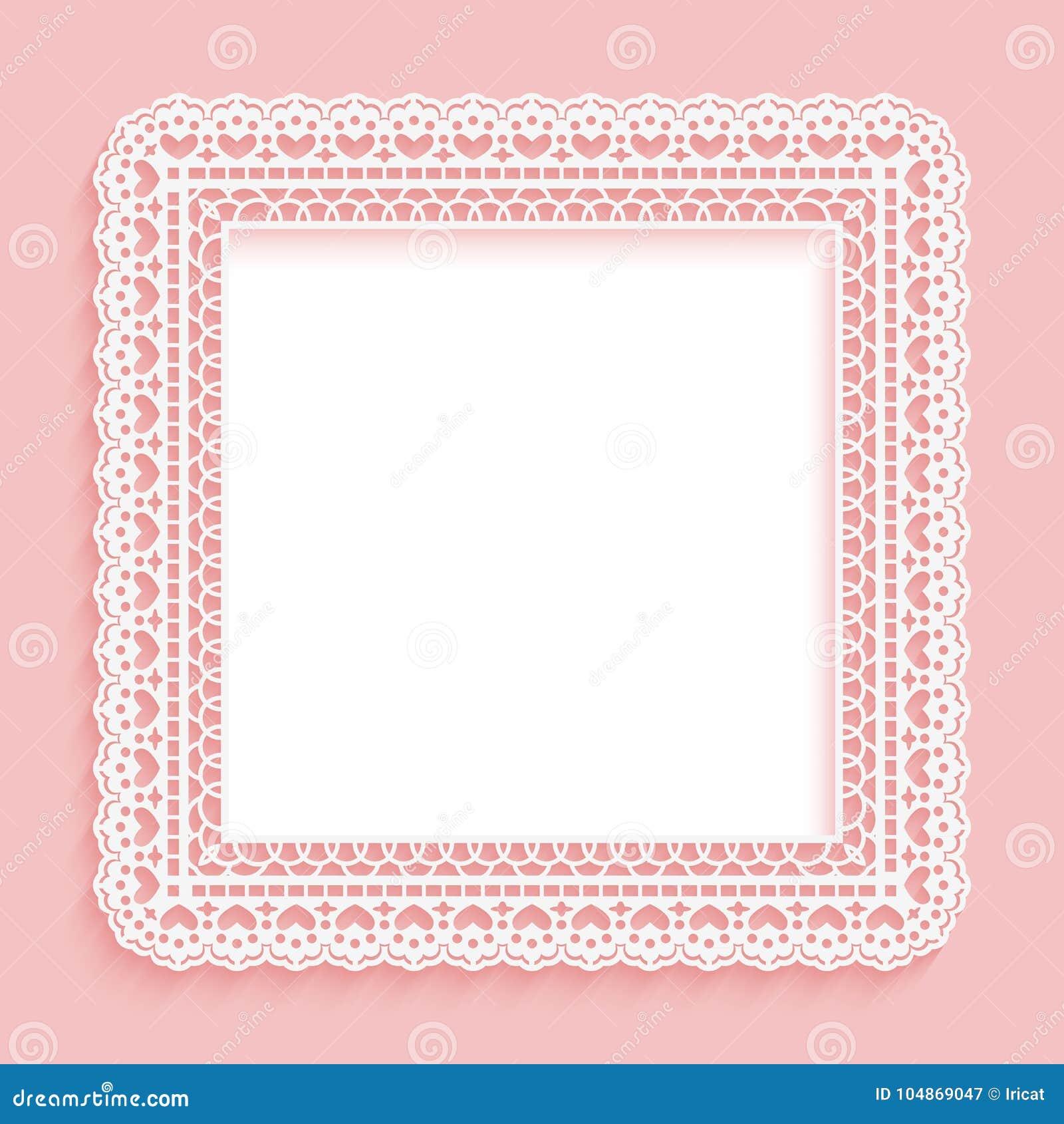 Marco cuadrado con el cordón de papel Rosa de encaje con el fondo blanco