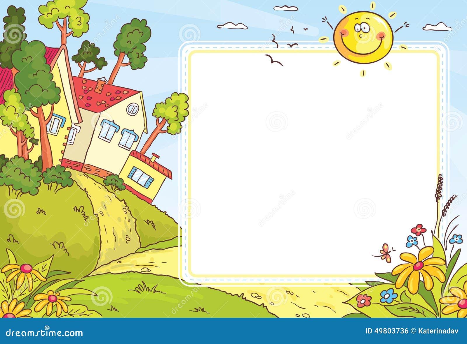 Marco cuadrado con paisaje del campo