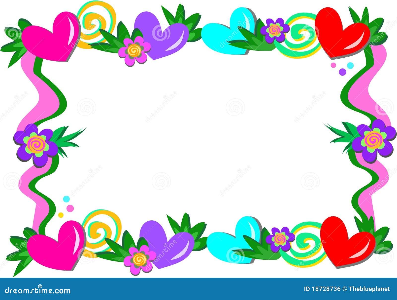 Marco de corazones de espirales y de flores ilustraci n - Marco de fotos multiple ...