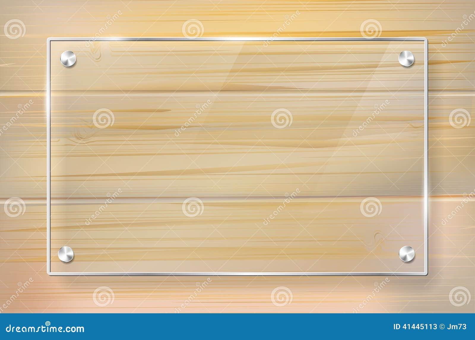 Marco de cristal transparente en fondo de madera - Marcos de cristal ...
