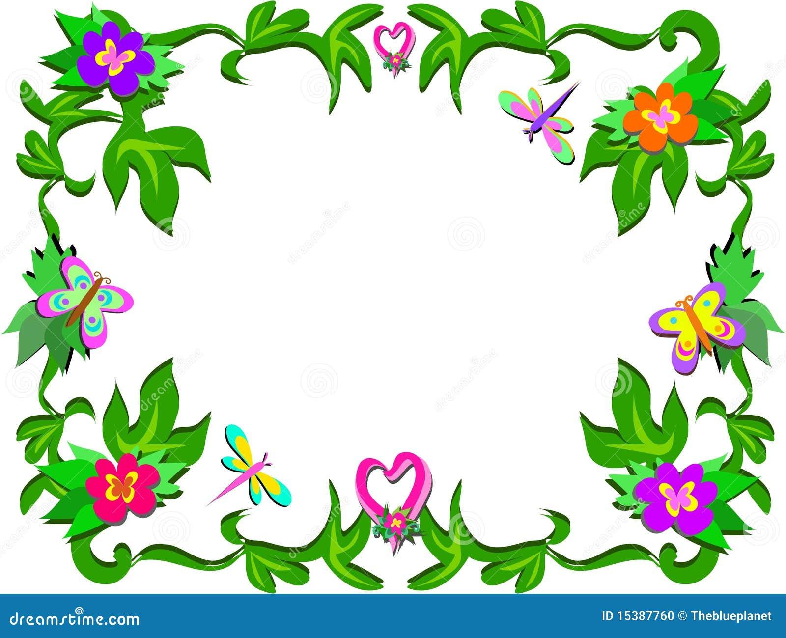 Marco de flores y de corazones tropicales foto de archivo - Marcos para plantas ...