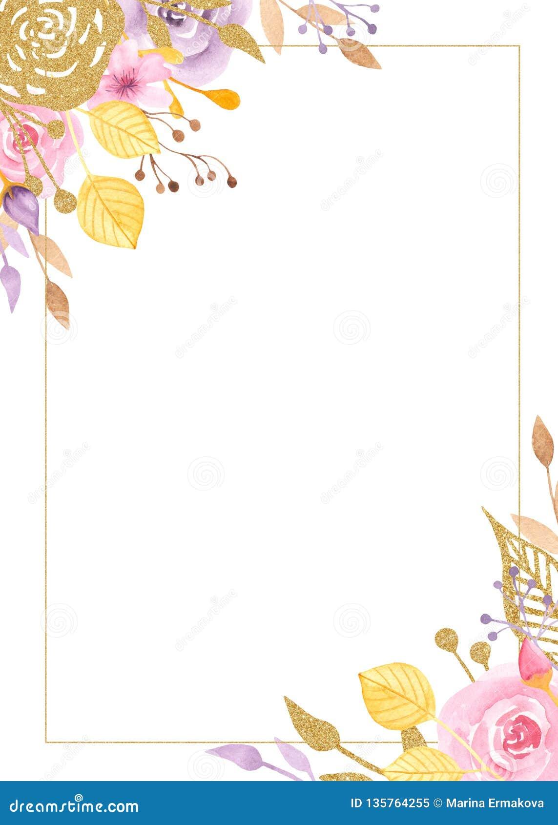 Marco de la acuarela con las flores, rosas, hojas, plantas de oro