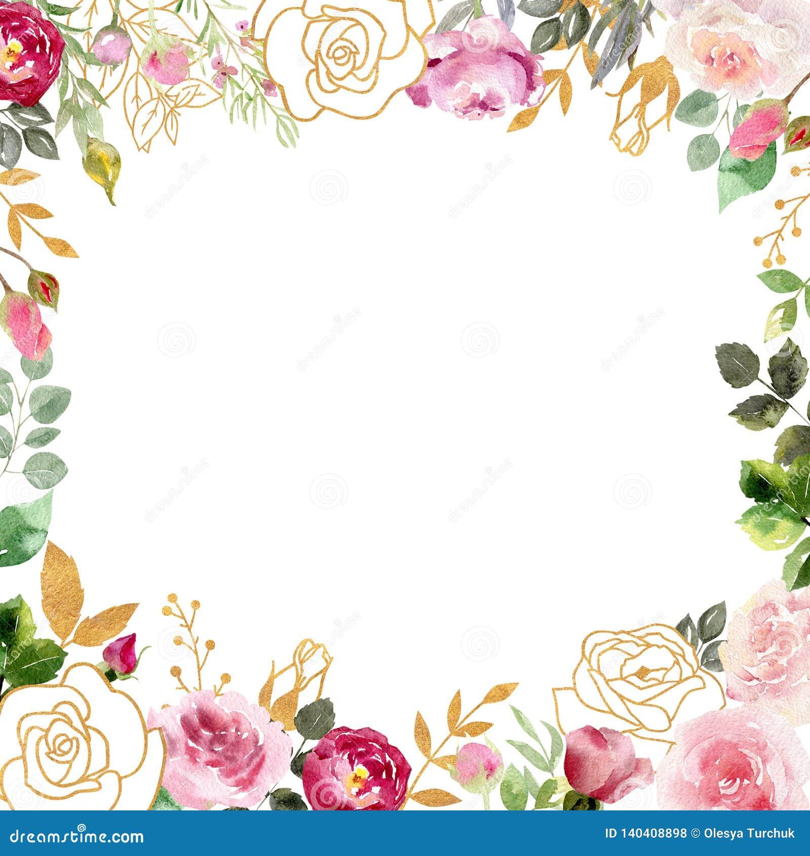 Marco de la acuarela con las rosas y los elementos de oro