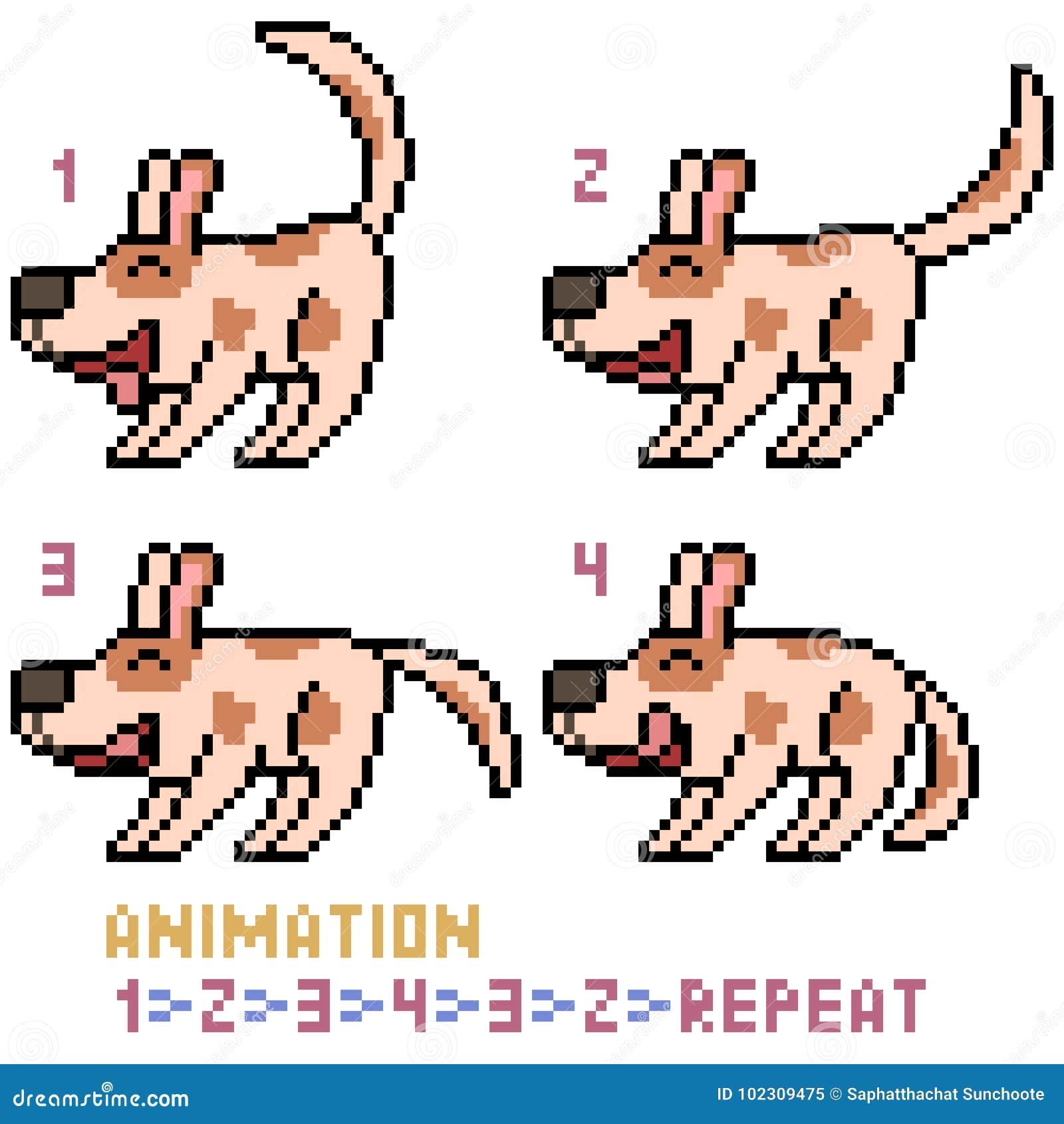 Marco De La Animación Del Perro Del Arte Del Pixel Del Vector ...