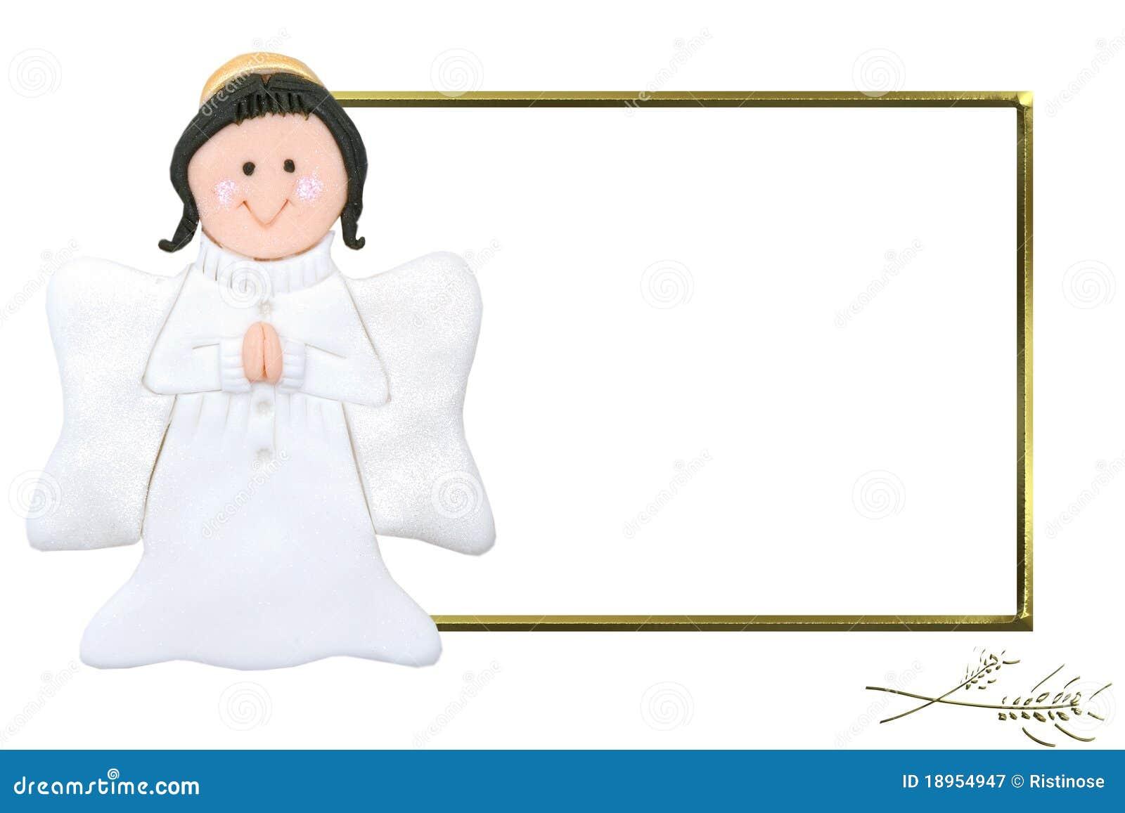 Marco De La Comunión Del ángel Del Niño Primer Imagen de archivo ...