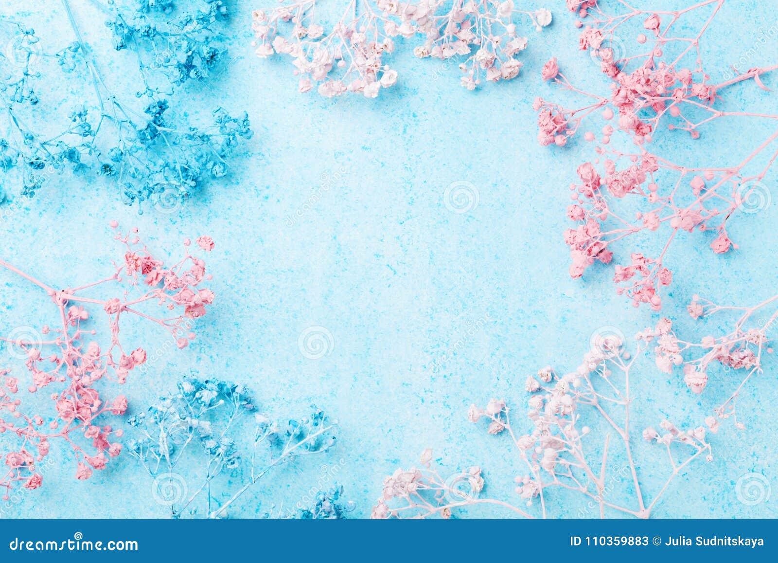 Marco de la flor de la boda en la opinión superior del fondo en colores pastel azul Modelo floral hermoso Endecha plana Mujer o t