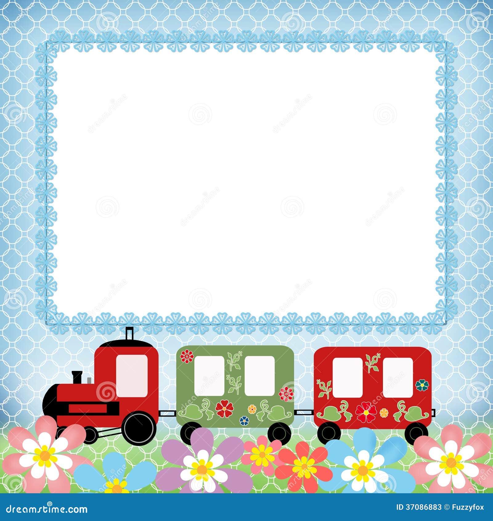 Marco de la foto de los ni os del tren del beb en azul - Marcos fotos bebes ...