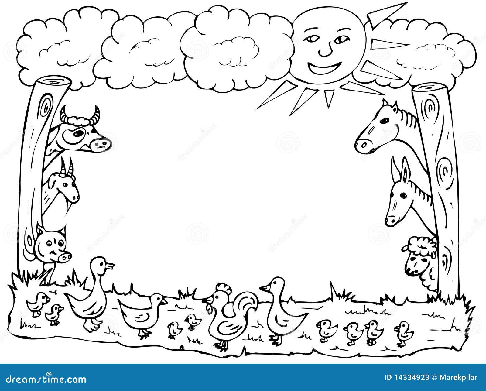 Marco de la granja stock de ilustración. Ilustración de pato - 14334923
