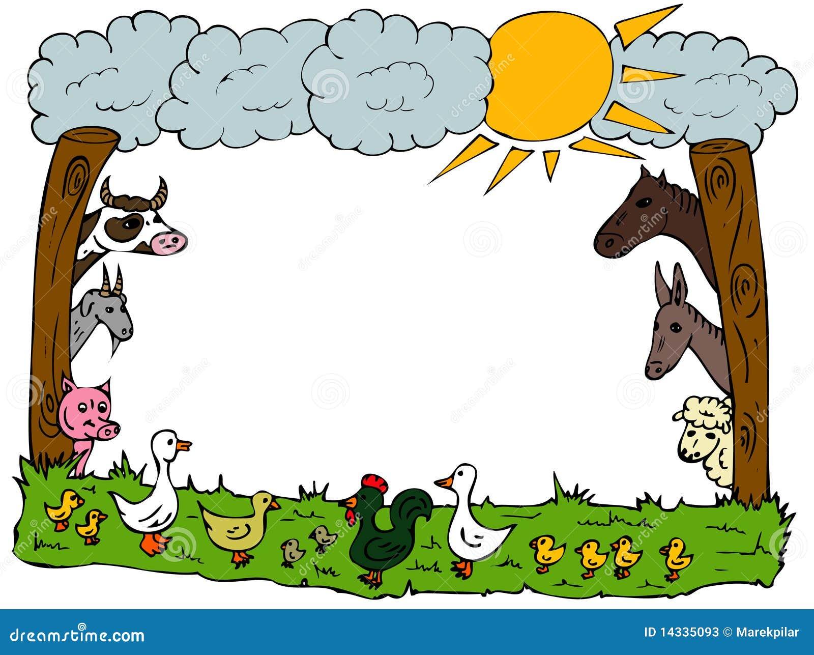 Marco de la granja stock de ilustración. Ilustración de vaca - 14335093
