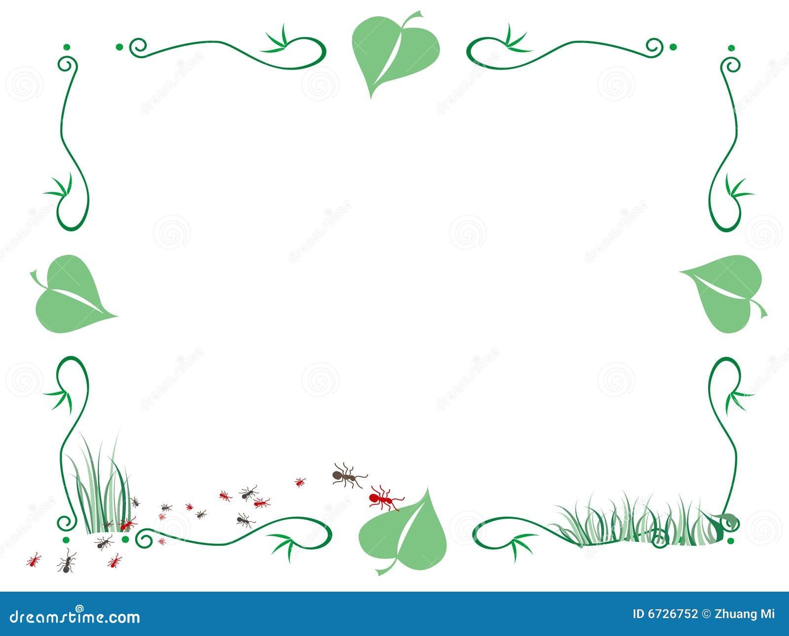 Marco de la hormiga y de las hojas ilustraci n del vector - Marcos para plantas ...