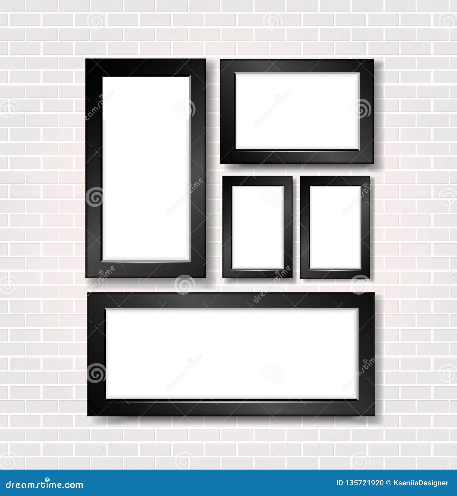 Marco de la imagen y de la foto en la pared de ladrillo blanca