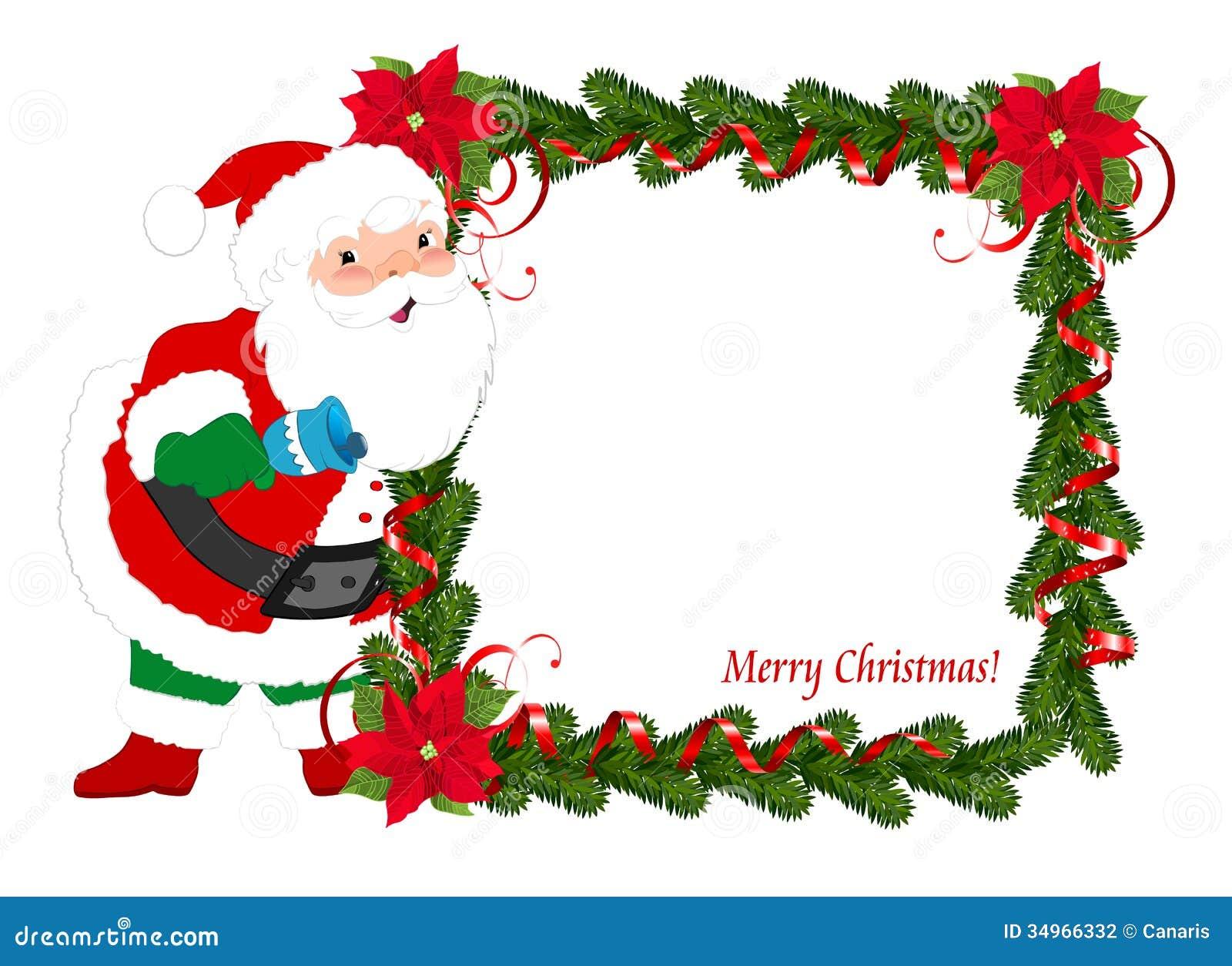 Imagenes De Papa Noel De Navidad.Marco De La Navidad Con Papa Noel Stock De Ilustracion