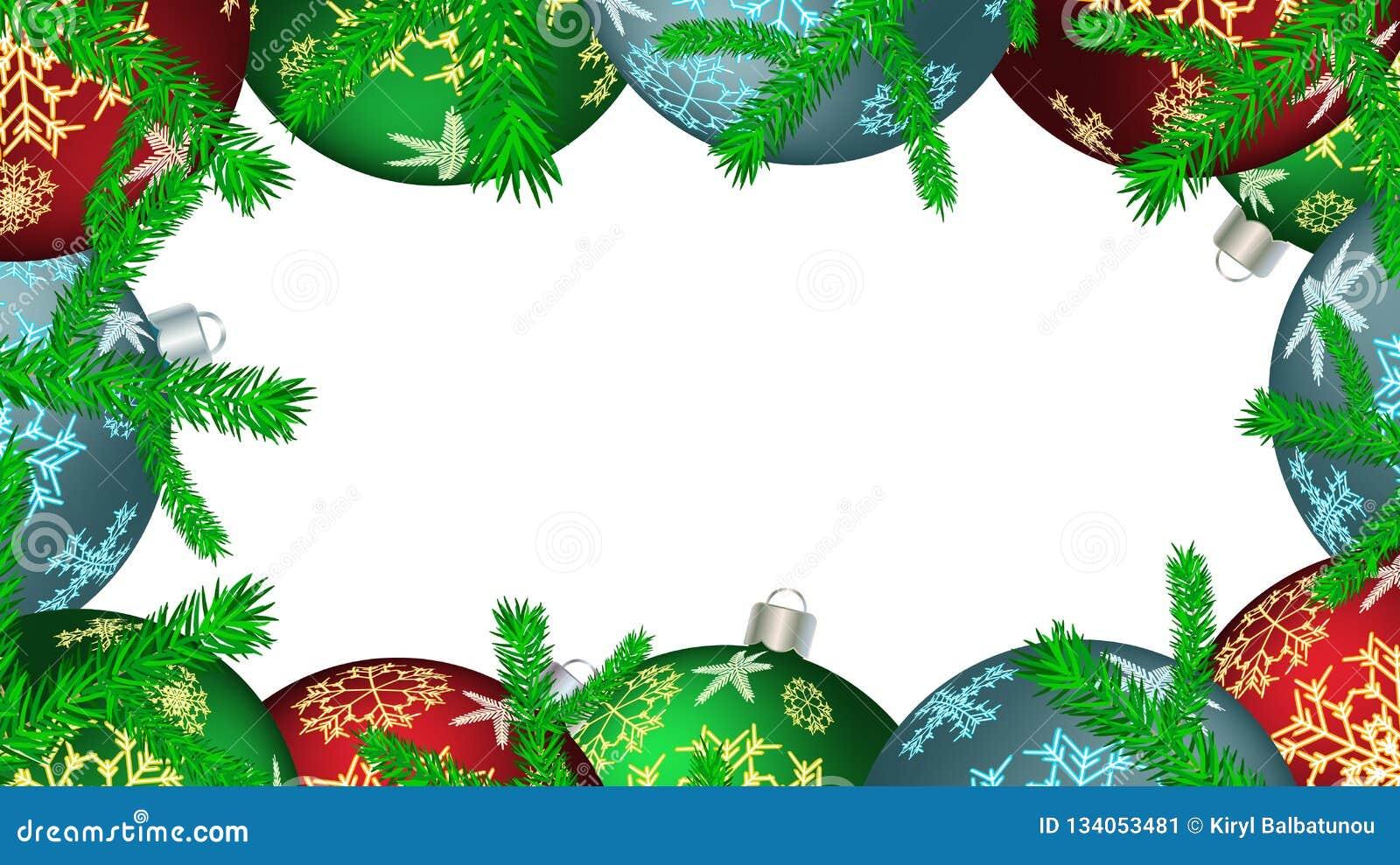 Marcos Para Fotos De Arbol De Navidad.Marco De La Navidad Para Las Bolas Redondas Del Ano Nuevo