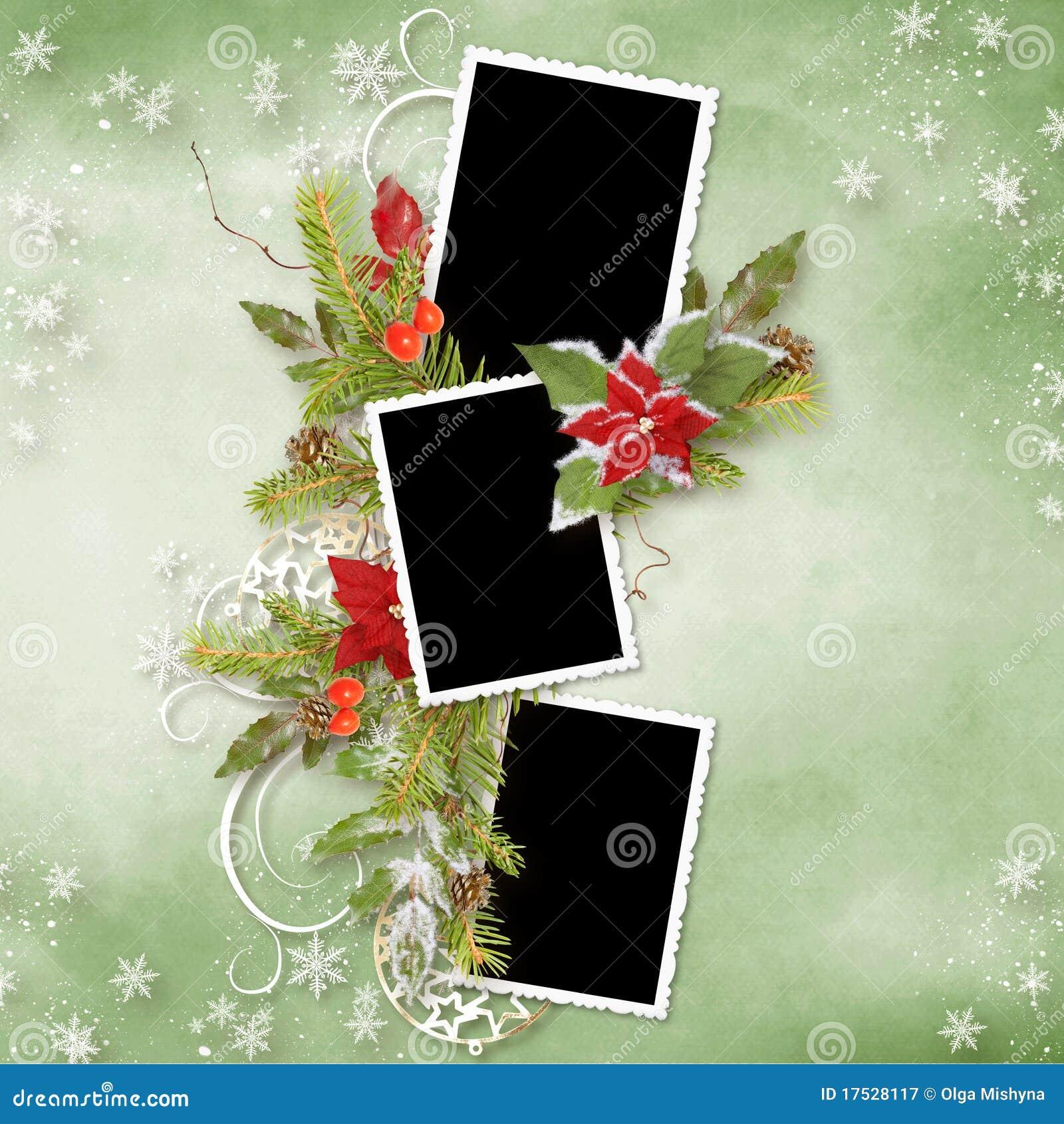 Marco De La Navidad Para Tres Fotos Stock de ilustración ...