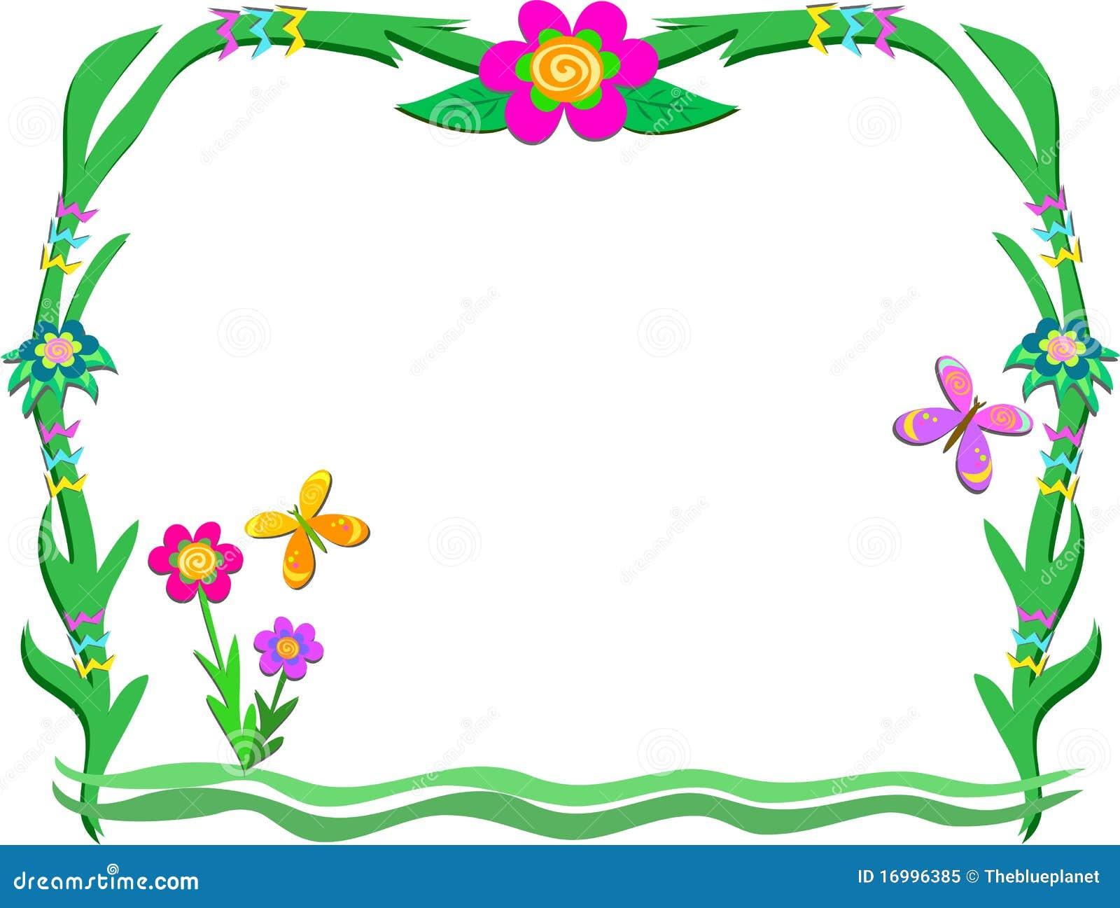Marco de la planta con las flores y las mariposas - Marcos para plantas ...