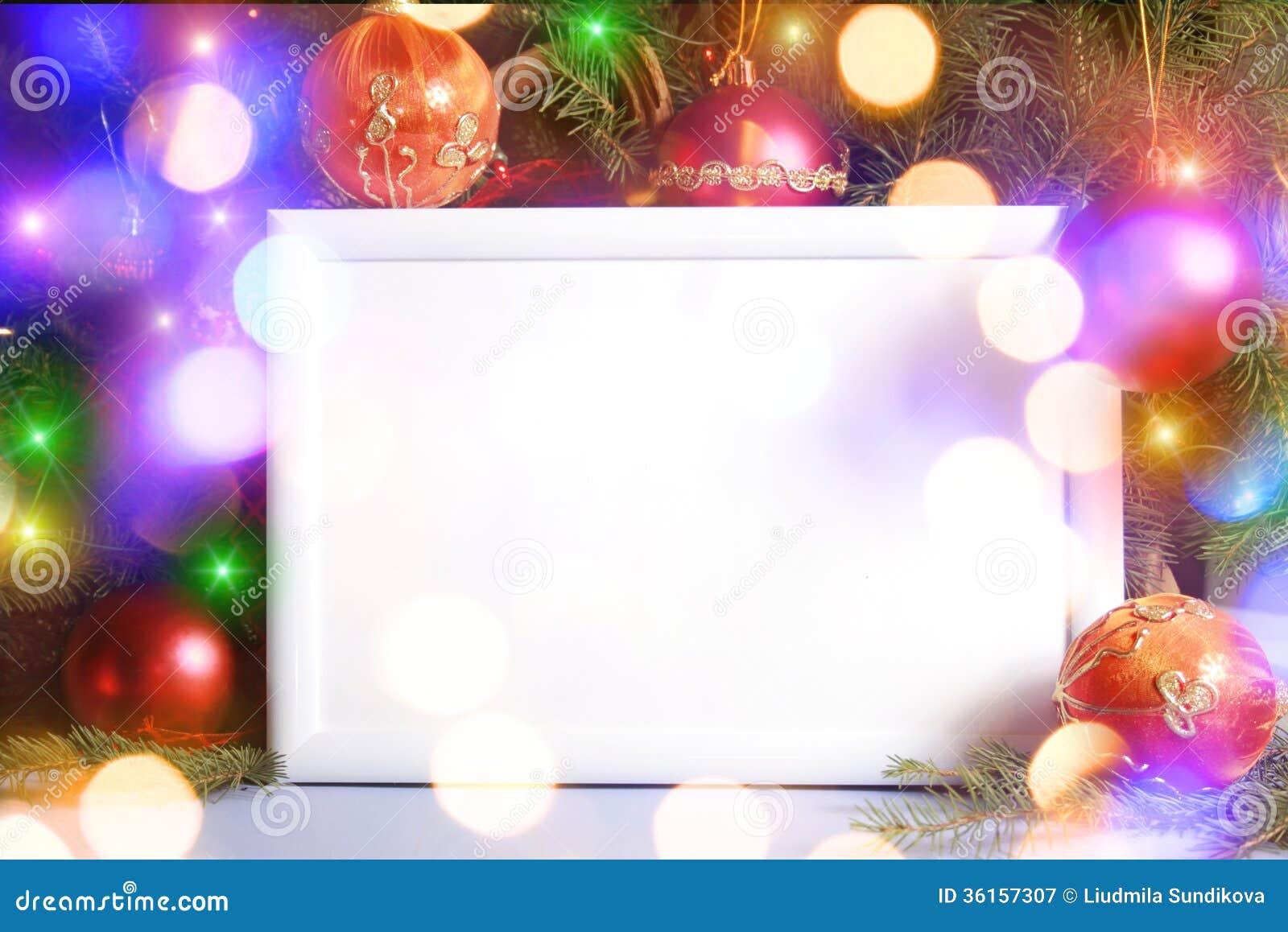 Marco de las luces de la Navidad