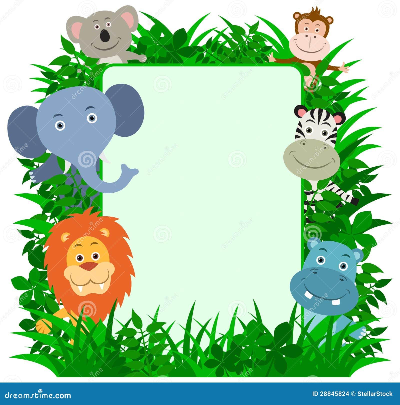 Marco De Los Animales De La Selva Ilustración del Vector ...