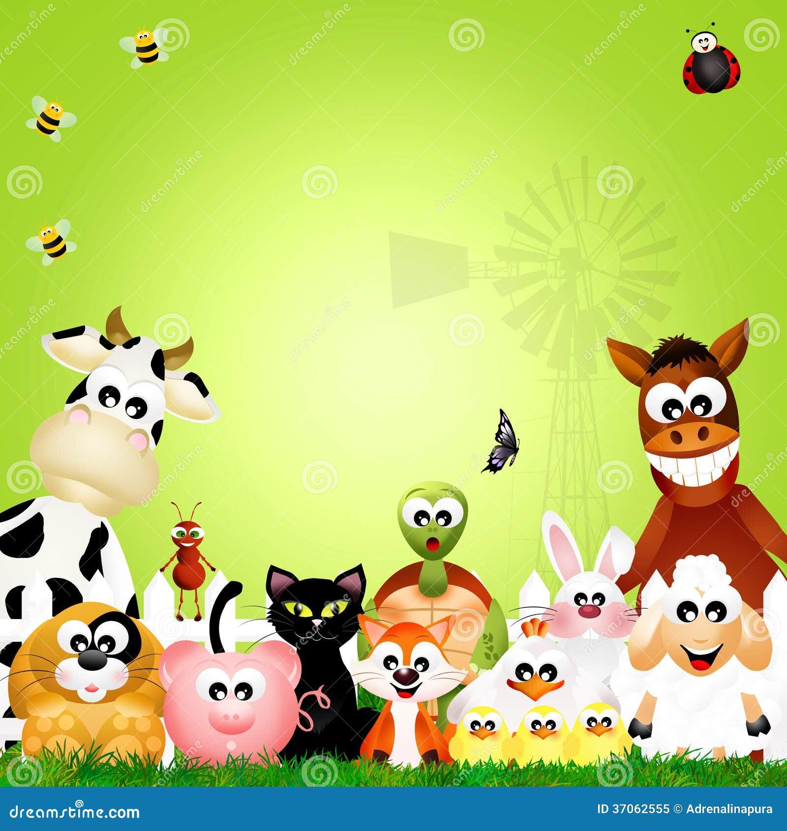 Marco De Los Animales Del Campo Stock de ilustración - Ilustración ...
