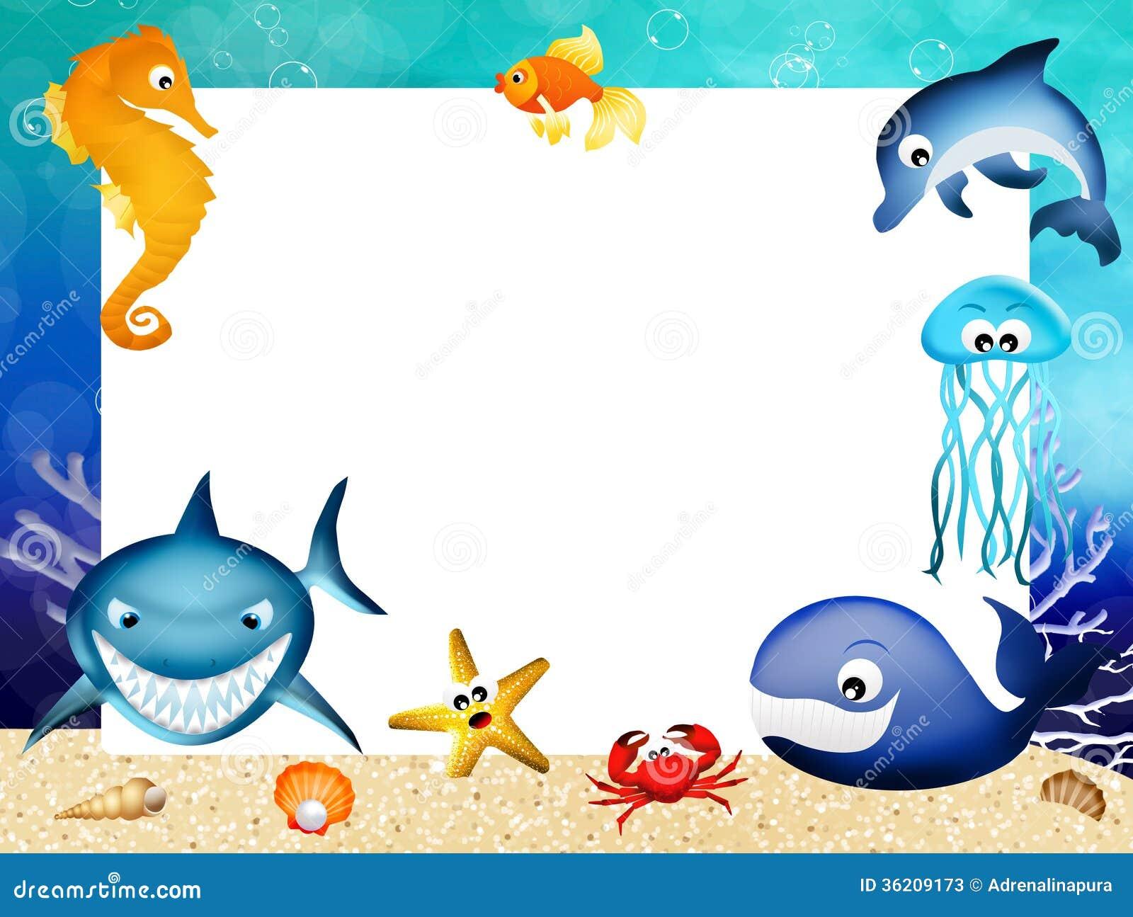 Marco De Los Animales Marinos Stock De Ilustraci 243 N