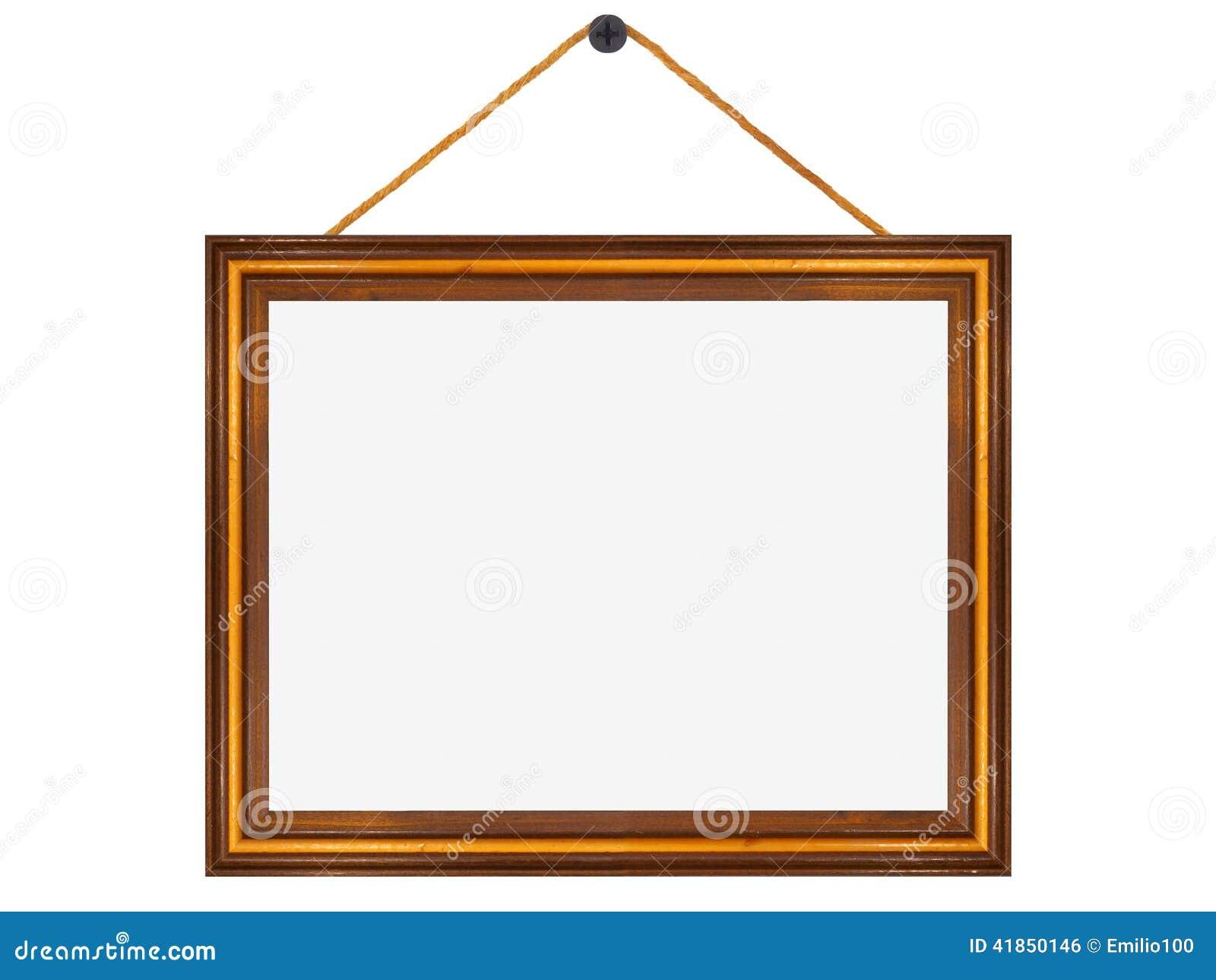 Marco de madera colgado de un clavo foto de archivo - Marcos de fotos para colgar ...