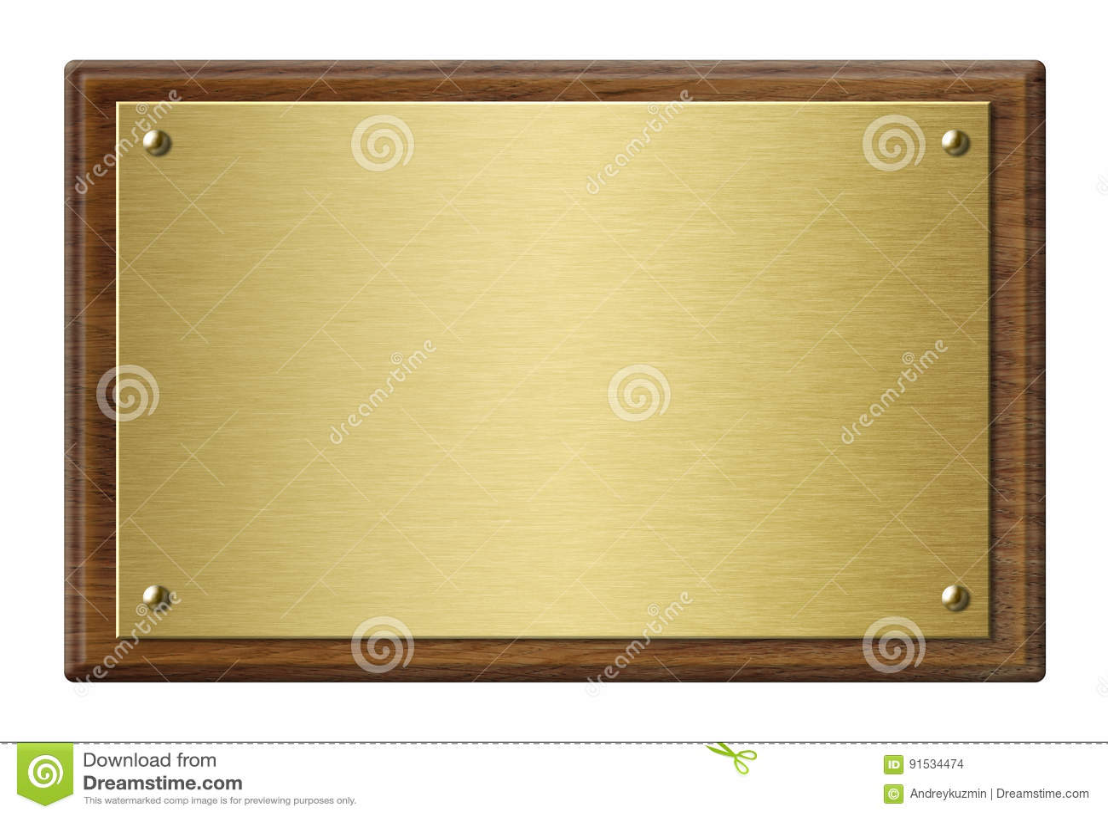 Marco de madera con el ejemplo de la placa de metal del oro 3d