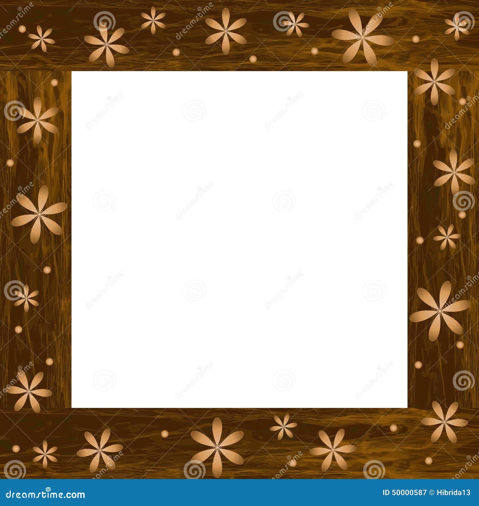 Marco de madera de la foto con las flores talladas - Marcos de fotos madera ...