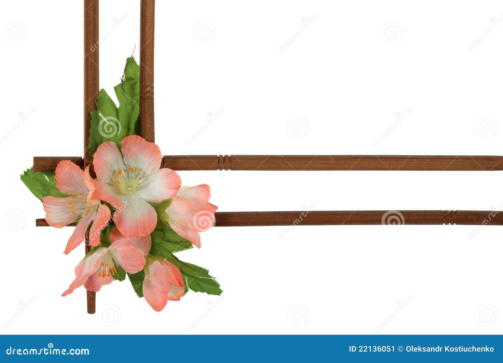 Marco De Madera Decorativo Adornado Con Las Flores Imagen de archivo ...