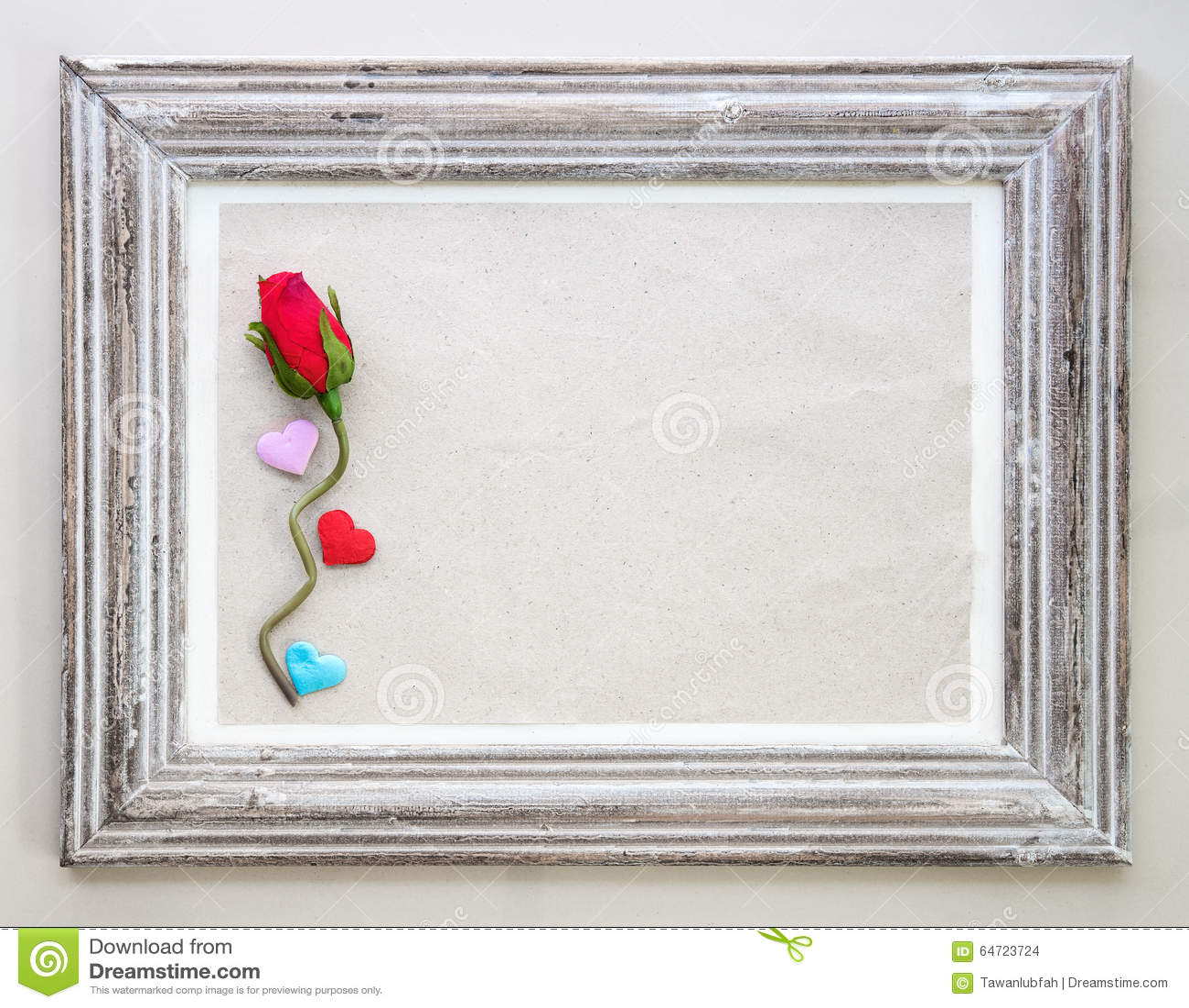 Marco de madera del vintage con color de rosa y coraz n for Espejos decorativos marco de madera