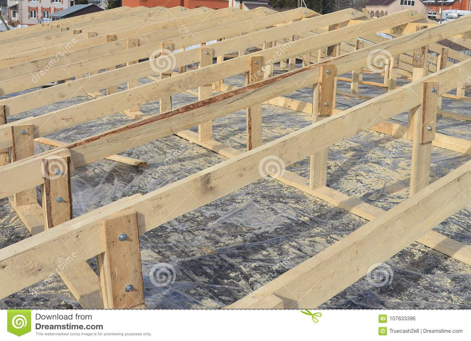 Marco De Madera De La Construcción De La Techumbre, Nuevo Esqueleto ...