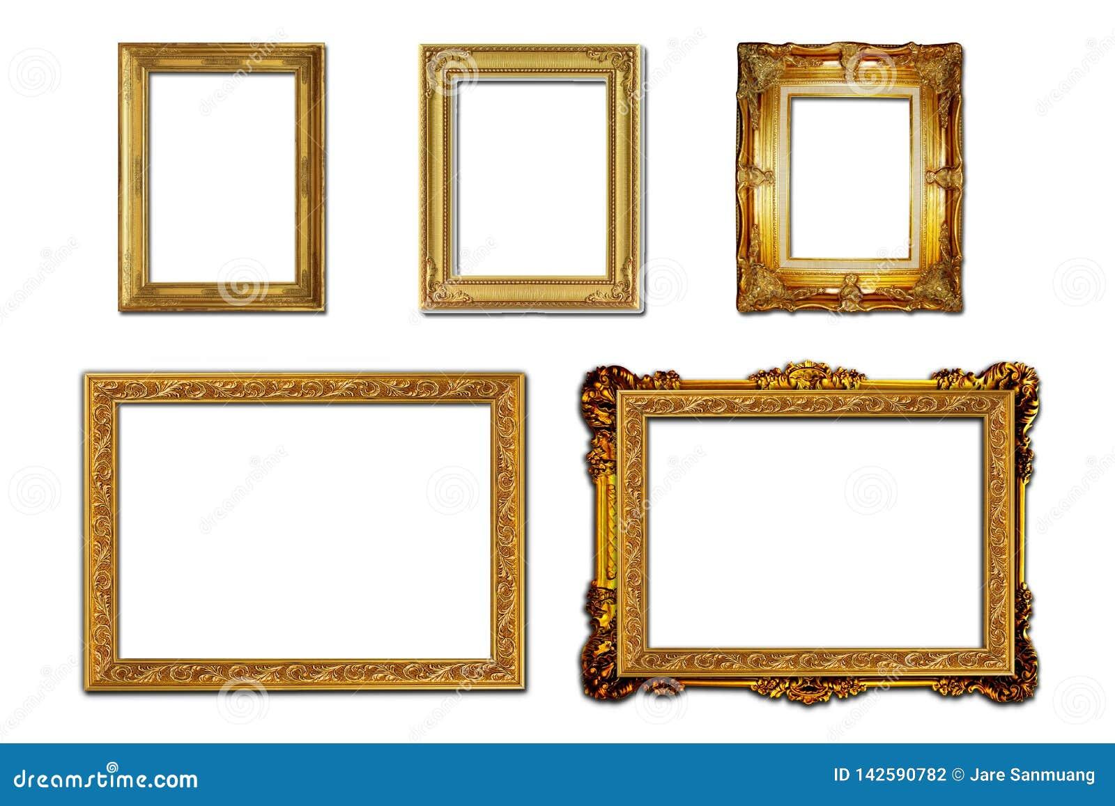 Marco de madera de la foto del estilo de Louis en el fondo blanco
