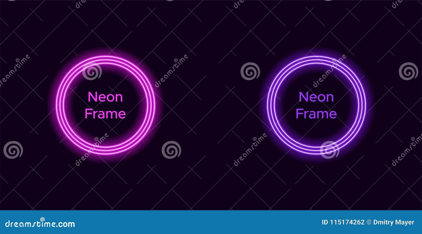 Marco De Neón Del Círculo En Color Púrpura Y Violeta Ilustración del ...
