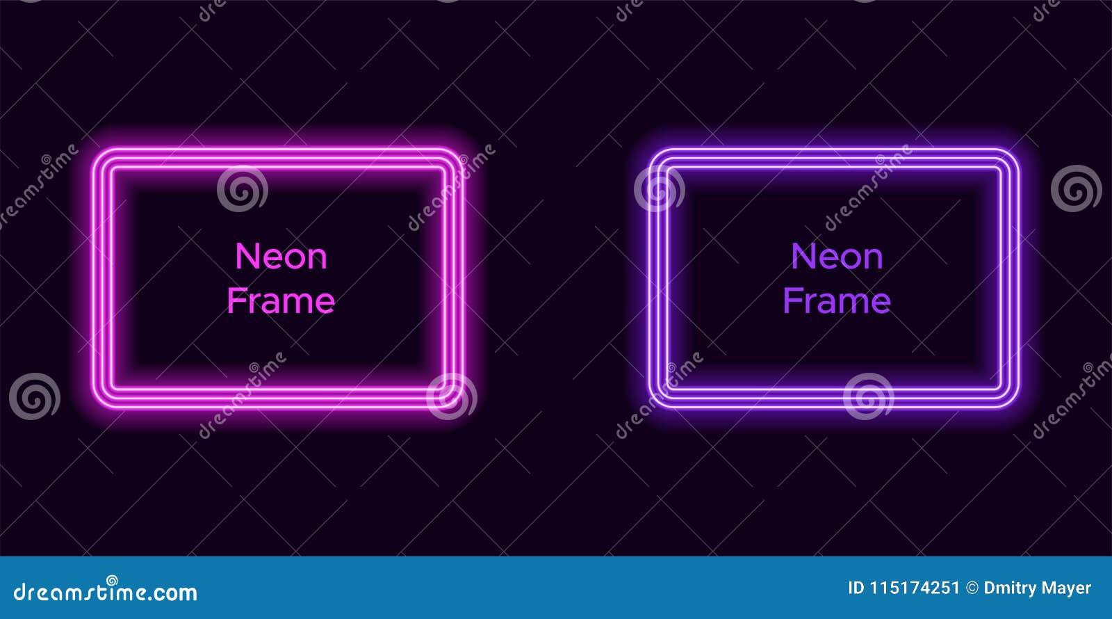 Marco de neón del rectángulo en color púrpura y violeta