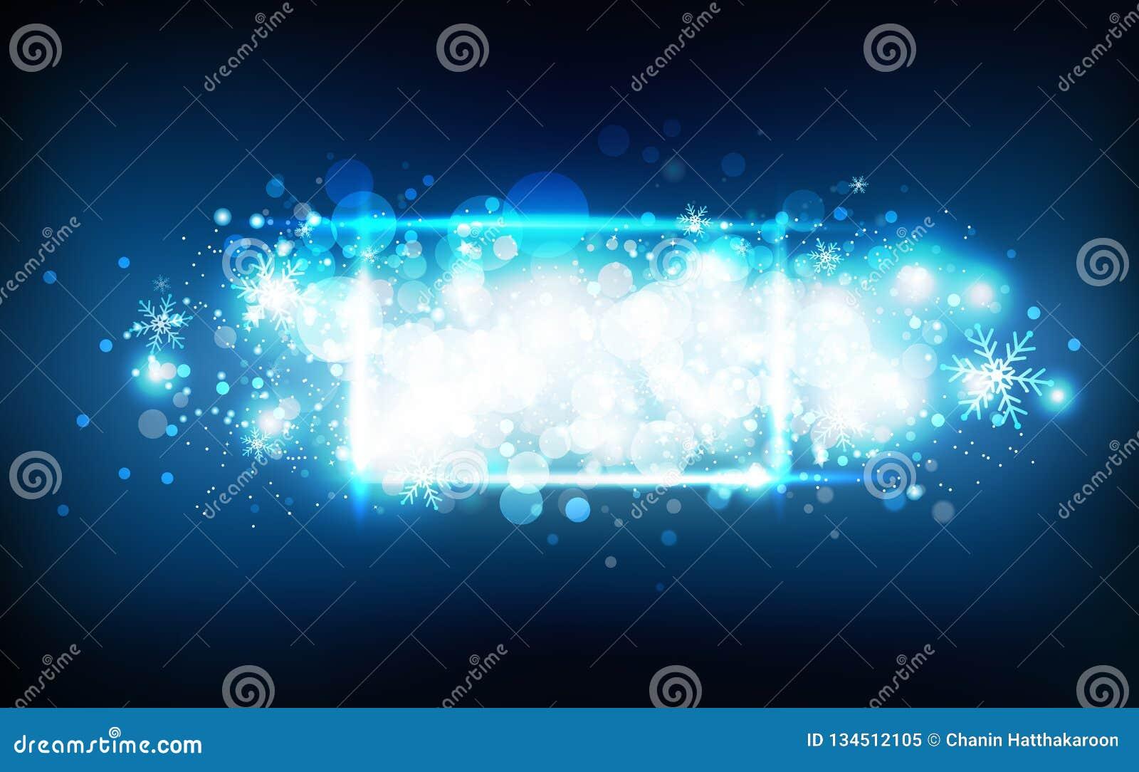 Marco de neón de las estrellas fugaces de la estación del invierno, del confeti, de los copos de nieve y de las partículas que br