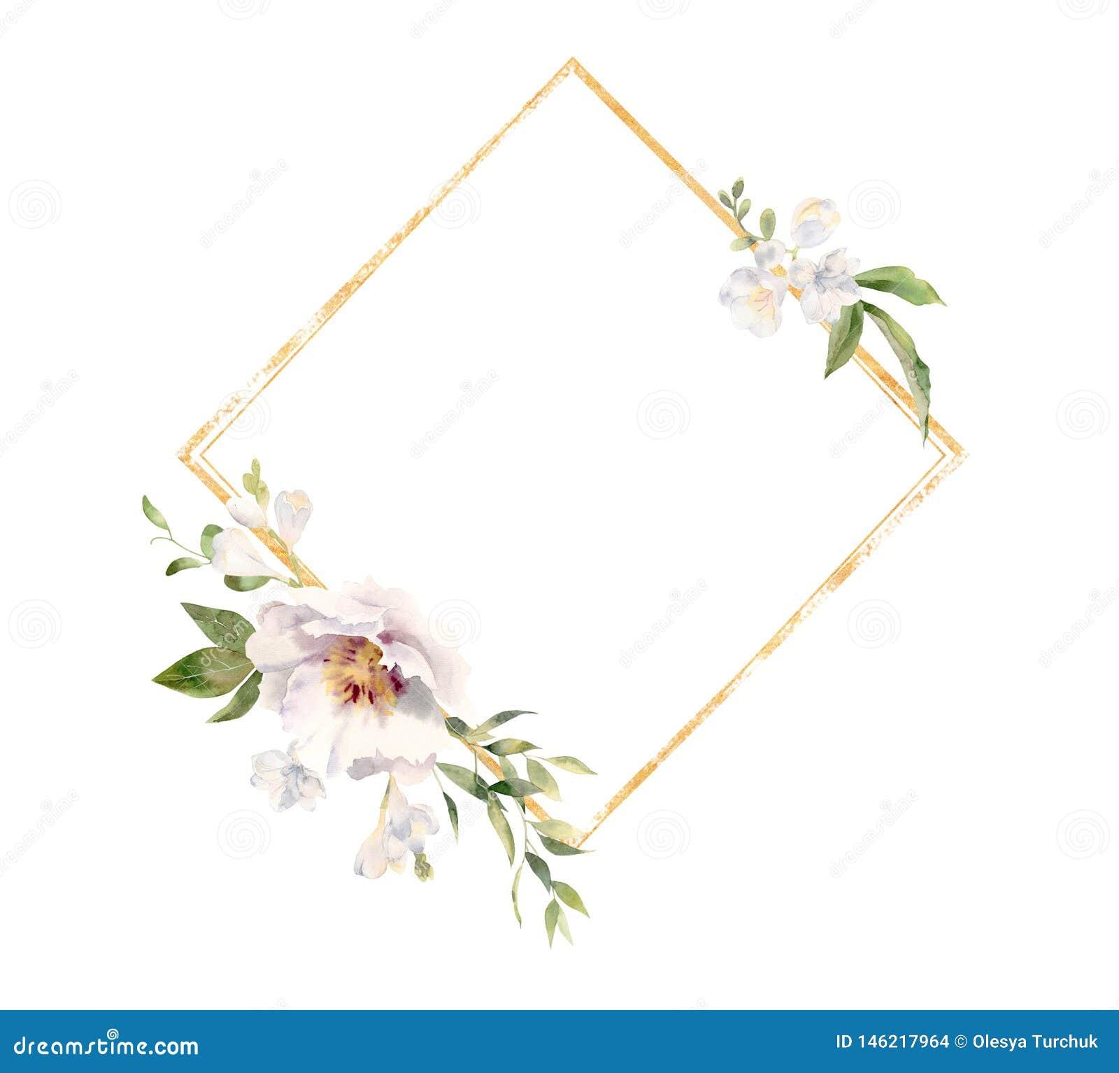 Marco de oro adornado con las flores pintadas a mano de la acuarela