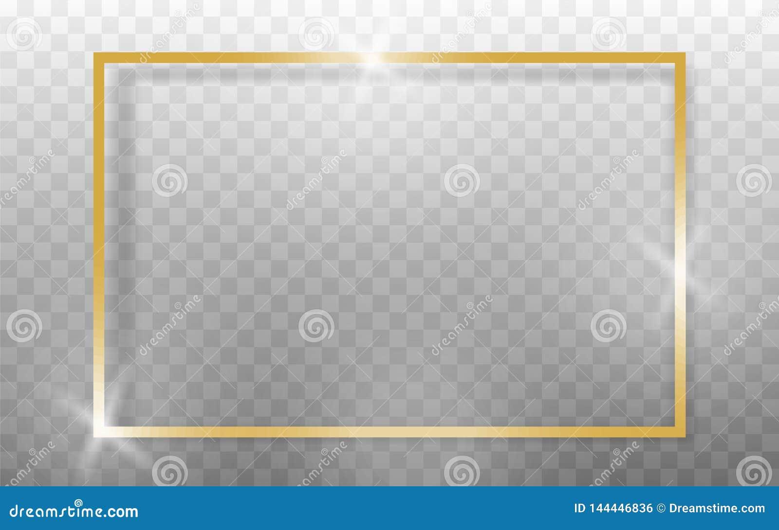 Marco de oro realista en fondo transparant Vector