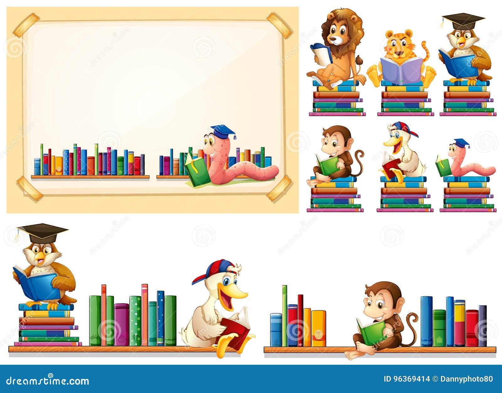 Marco De Papel Y Muchos Libros De Lectura De Los Animales ...
