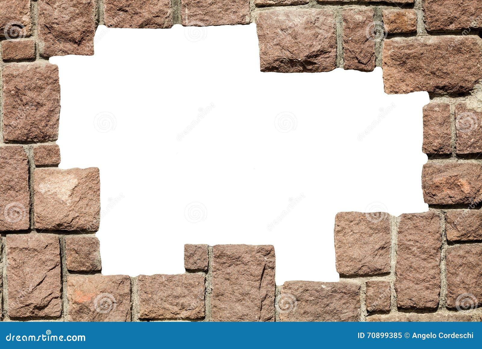 Marco de piedra de la pared de ladrillos con el agujero - Agujero en la pared ...