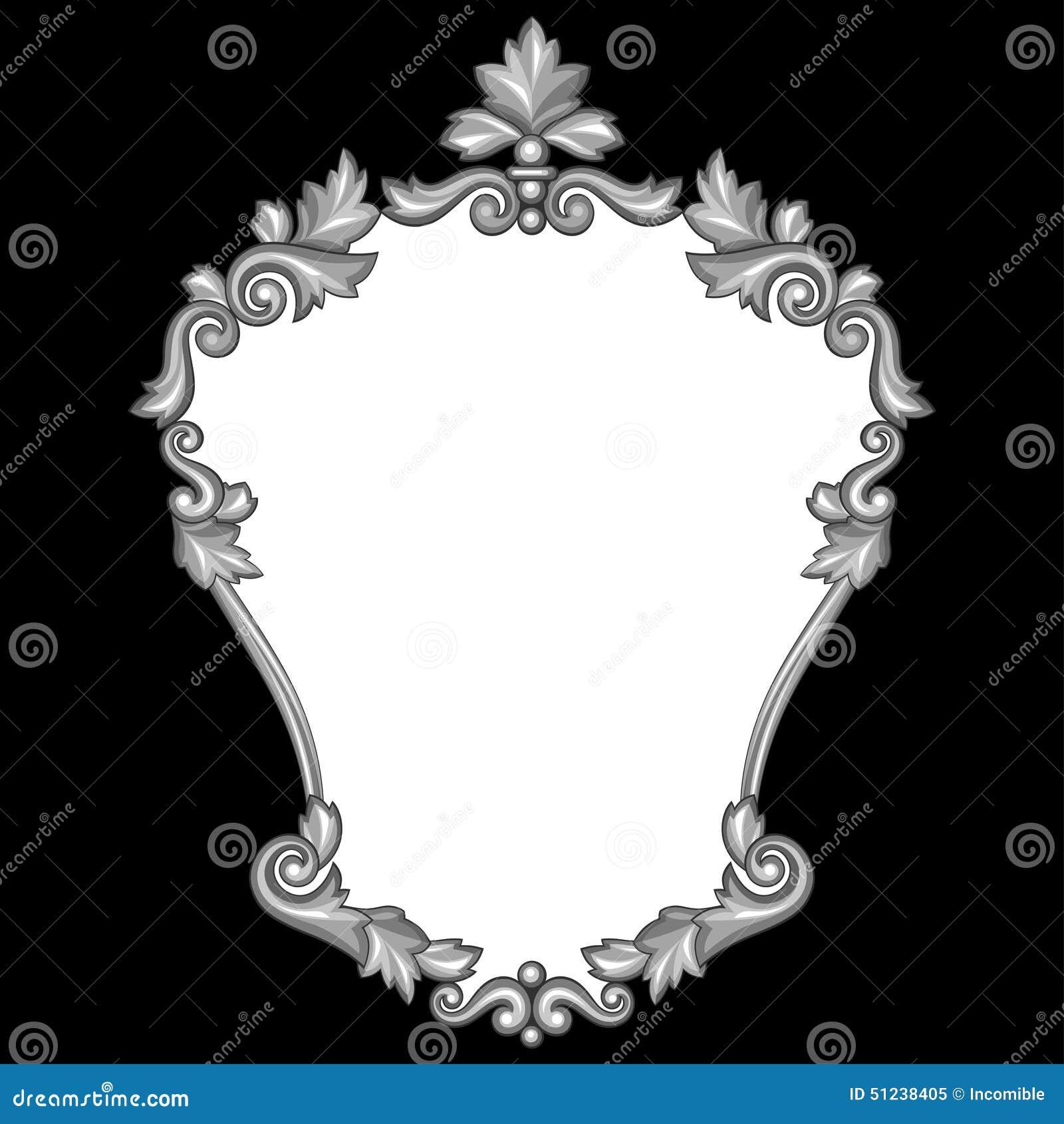 Marco De Plata Antiguo Ornamental Barroco En Negro Ilustración del ...