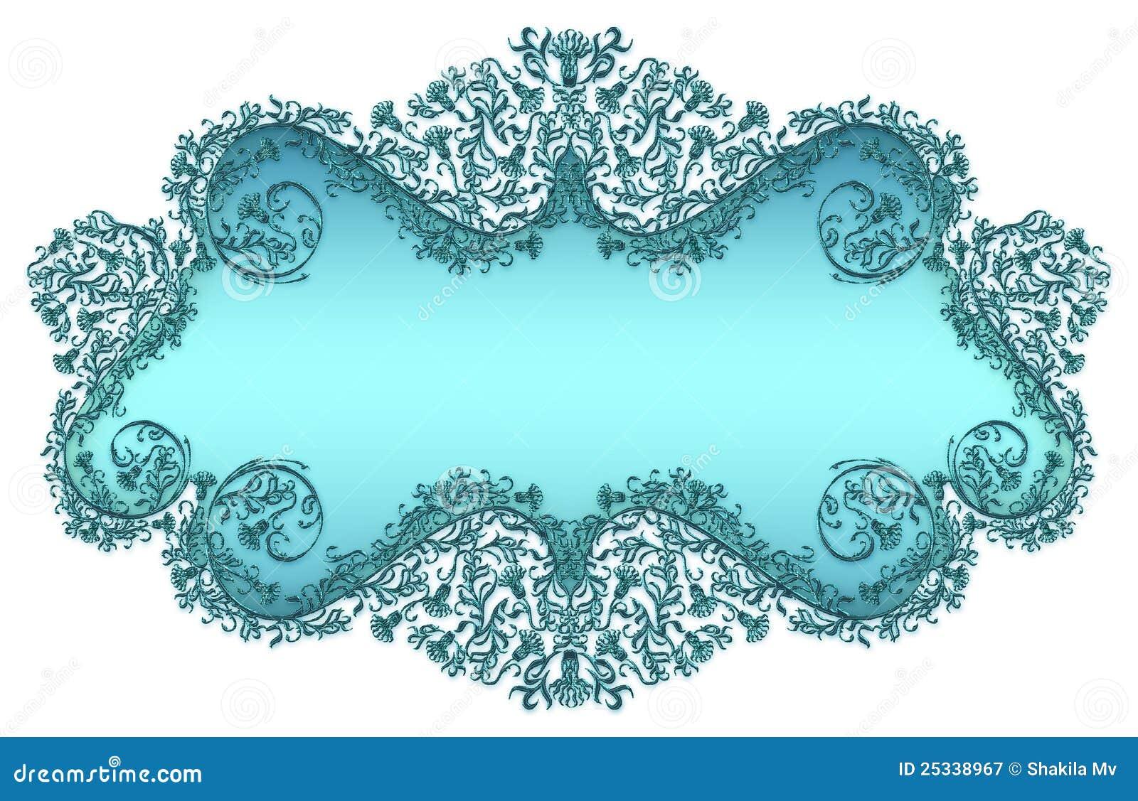 Marco De Texto Floral Del Damasco Azul Stock de ilustración ...