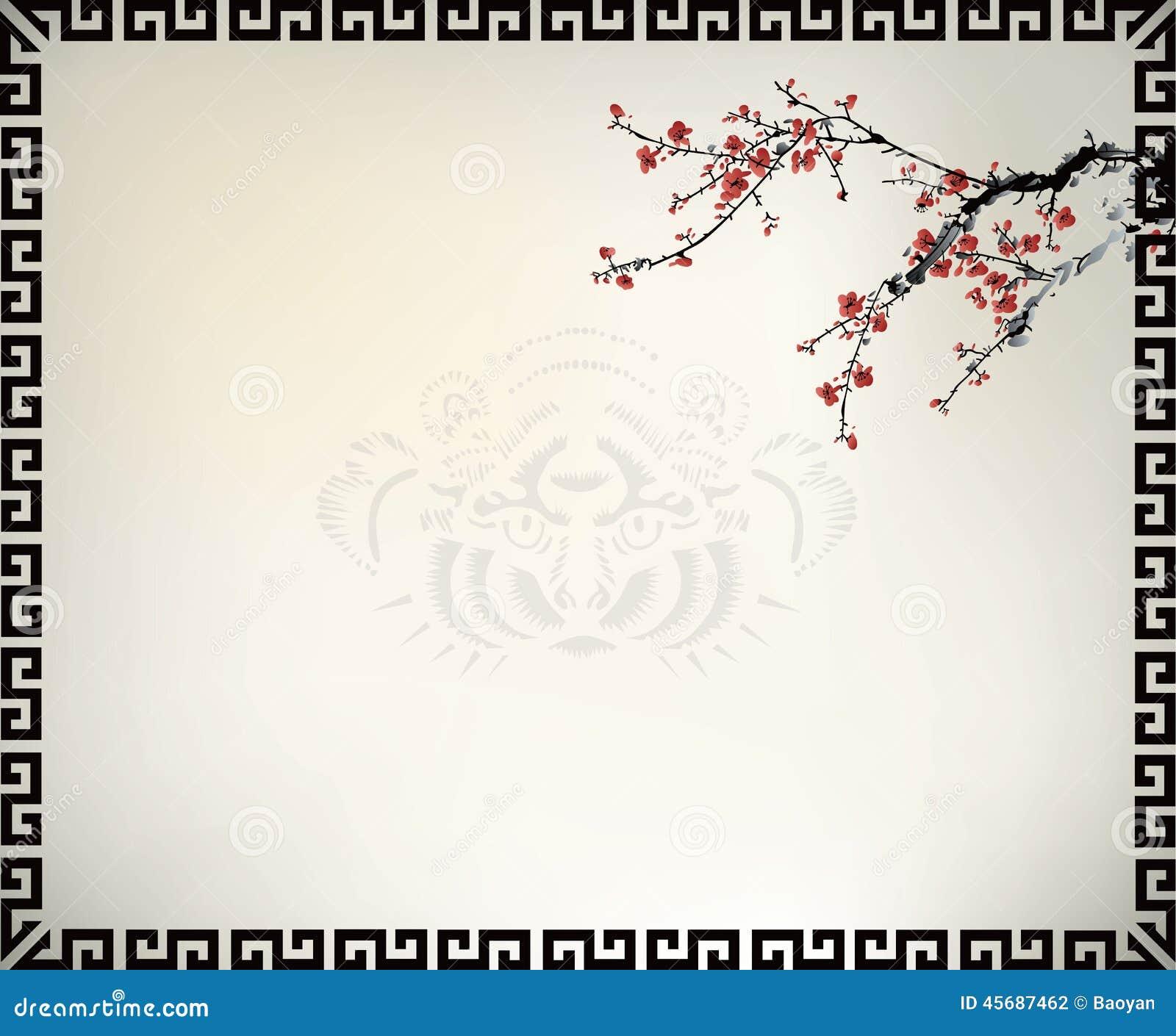 Marco de ventana chino ilustración del vector. Ilustración de tigre ...
