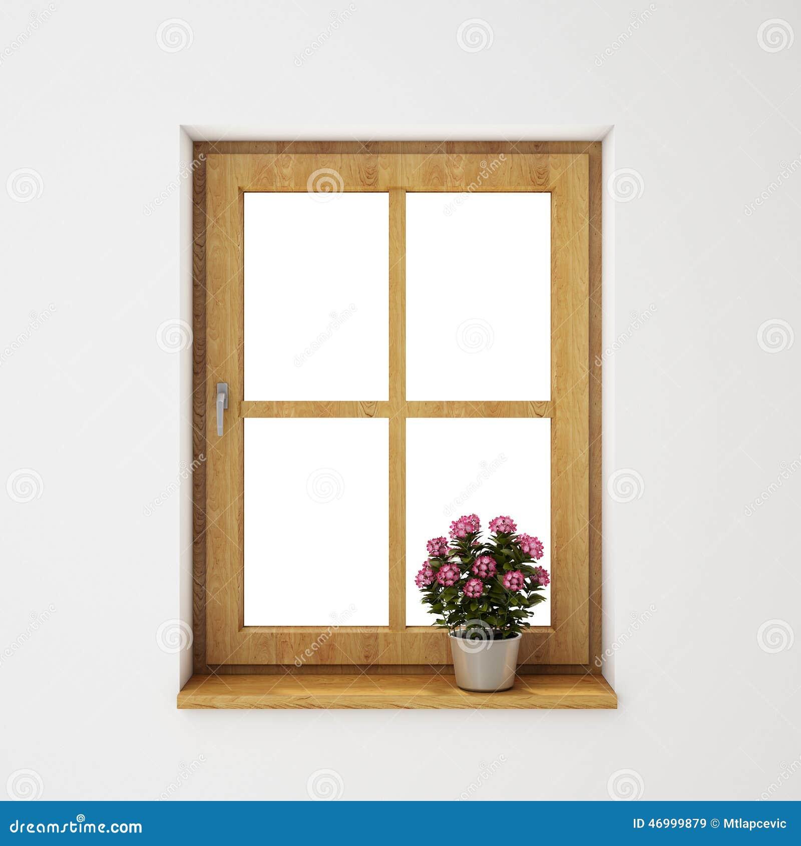 Marco de ventana de madera con la maceta en la pared for Ventanas de aluminio con marco de madera