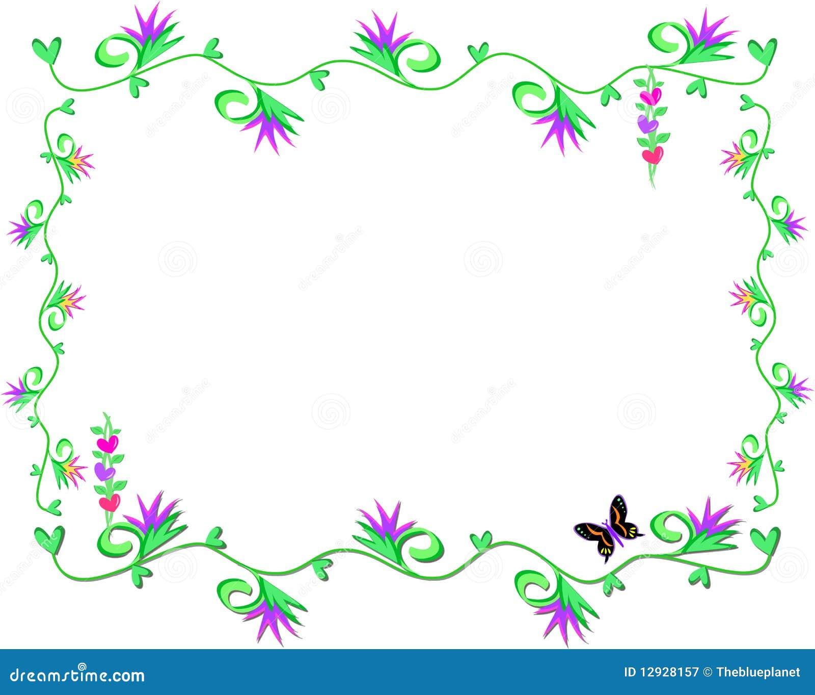 Marco de vides de hojas del coraz n y de flores - Marcos para plantas ...