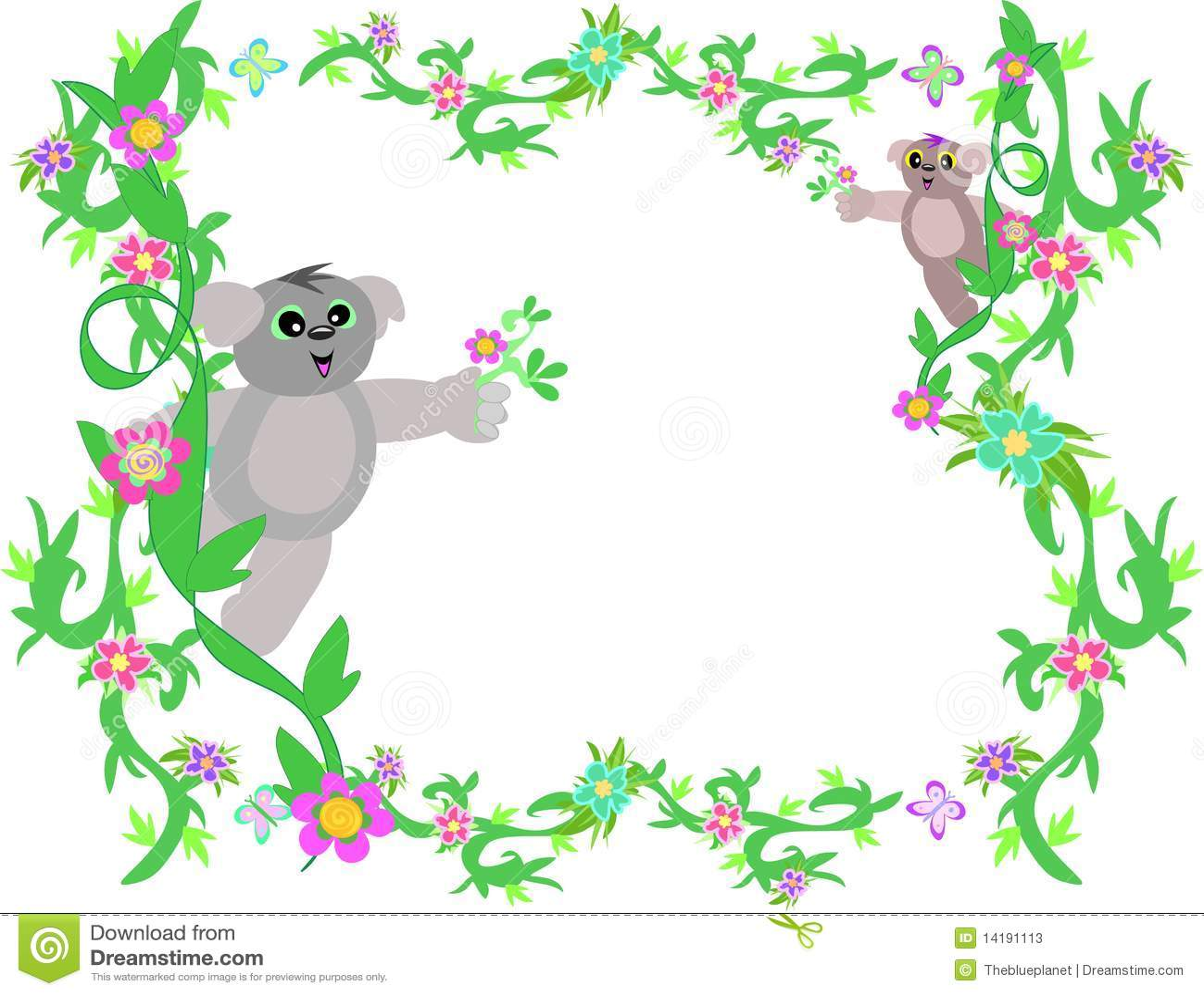 Marco de vides y de osos de koala ilustraci n del vector for Paginas de decoracion hogar