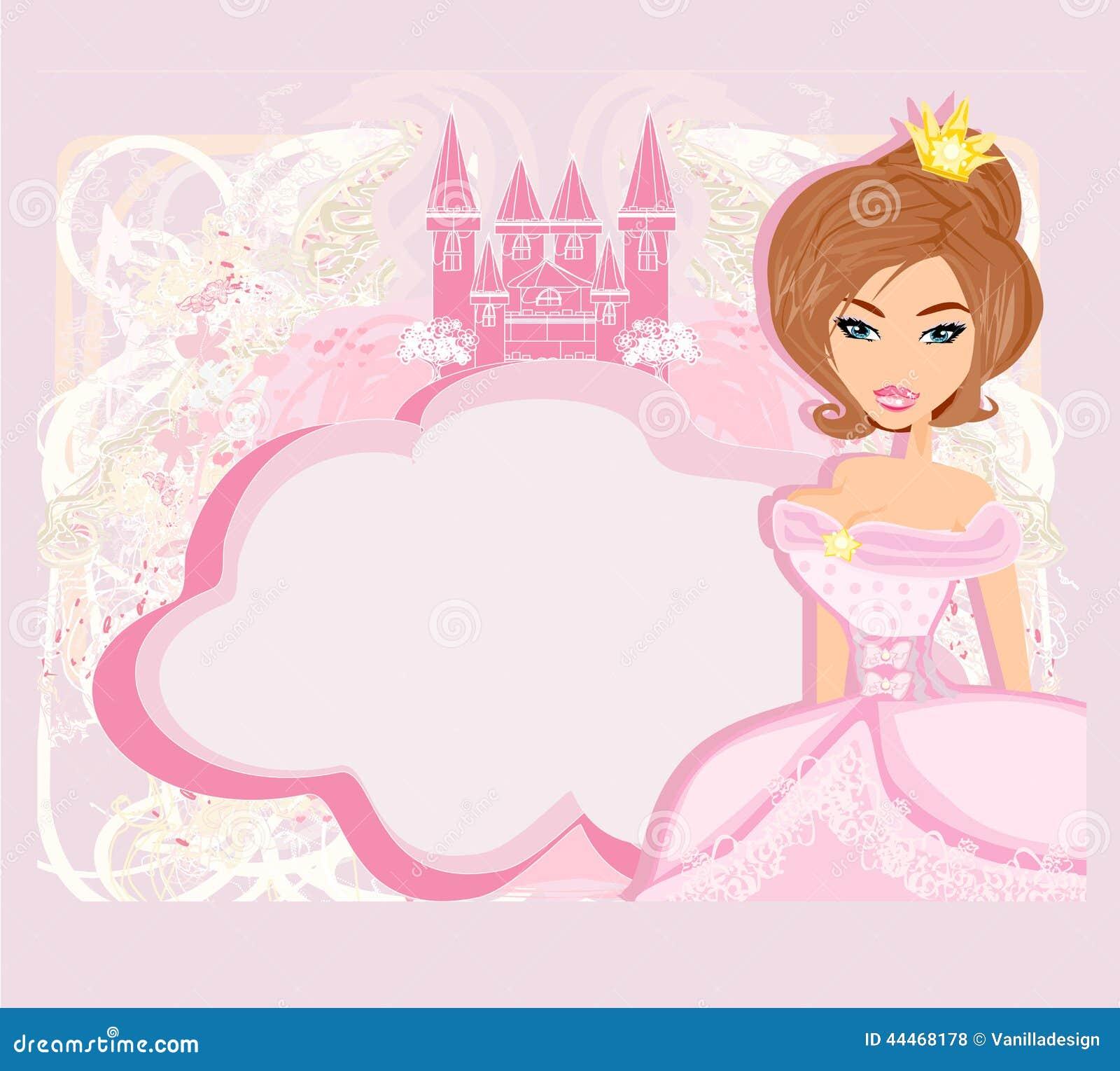 Marco Decorativo Con La Princesa Hermosa Y El Castillo Rosado ...