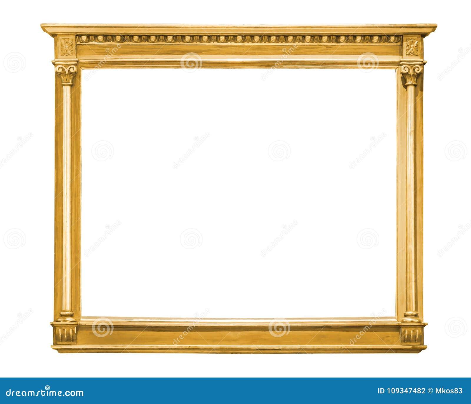 Marco decorativo del oro aislado en blanco