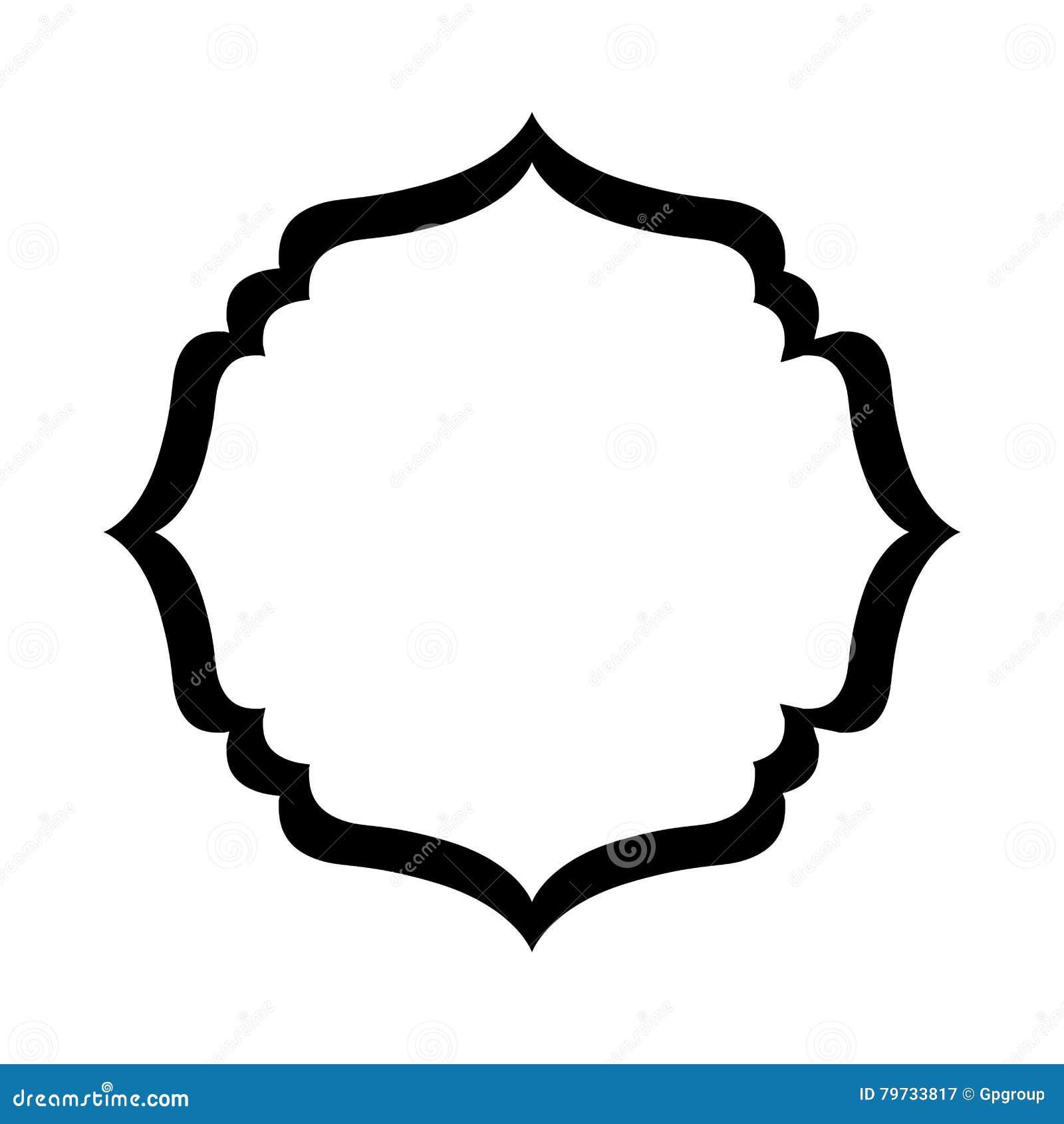 Marco decorativo heráldico de la silueta negra