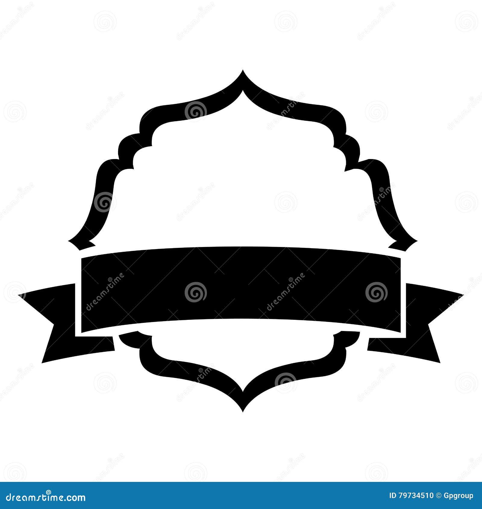 Marco decorativo heráldico de la silueta negra con la etiqueta