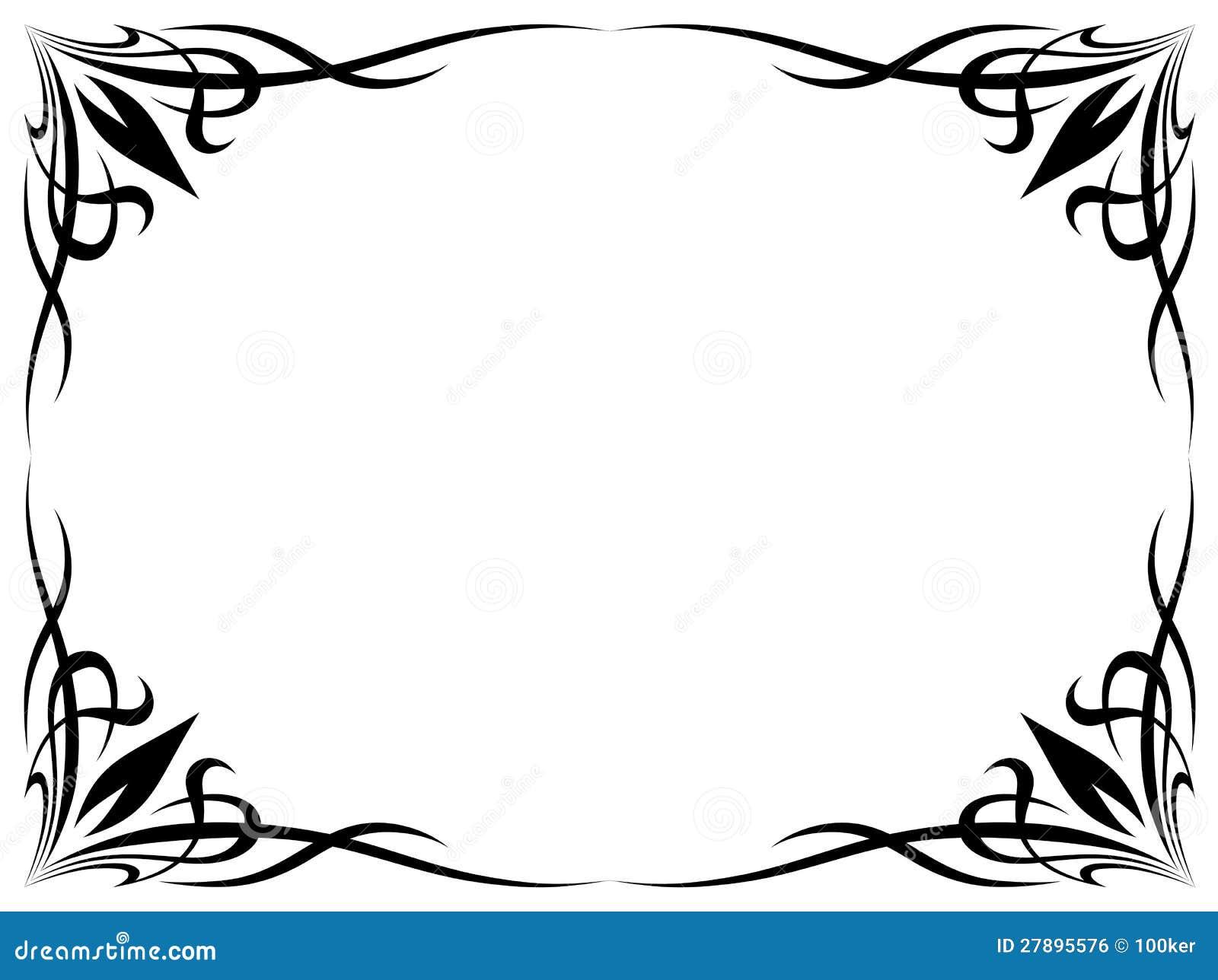Marco Decorativo Ornamental Del Tatuaje Negro Simple Ilustración del ...