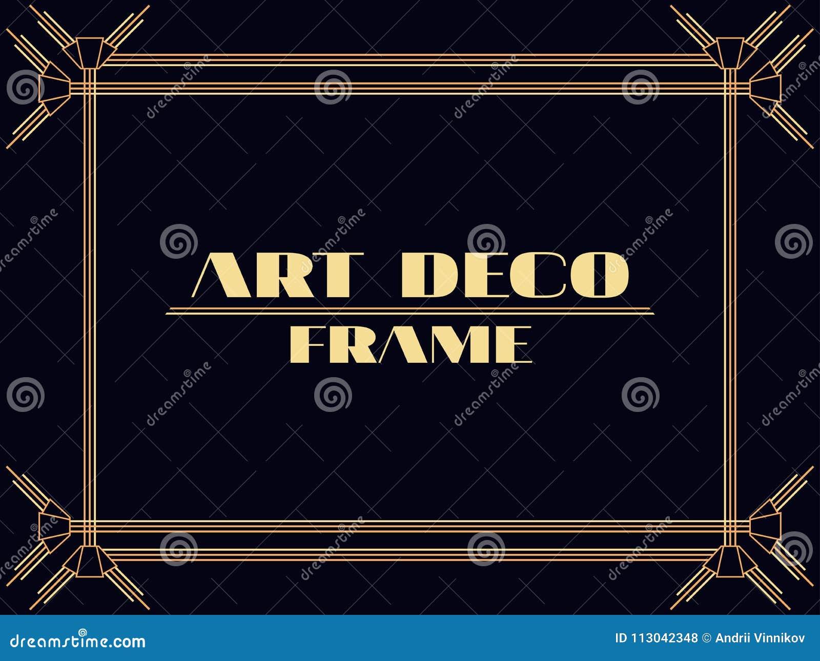 Marco Del Art Déco Frontera Linear Del Vintage Diseñe Una