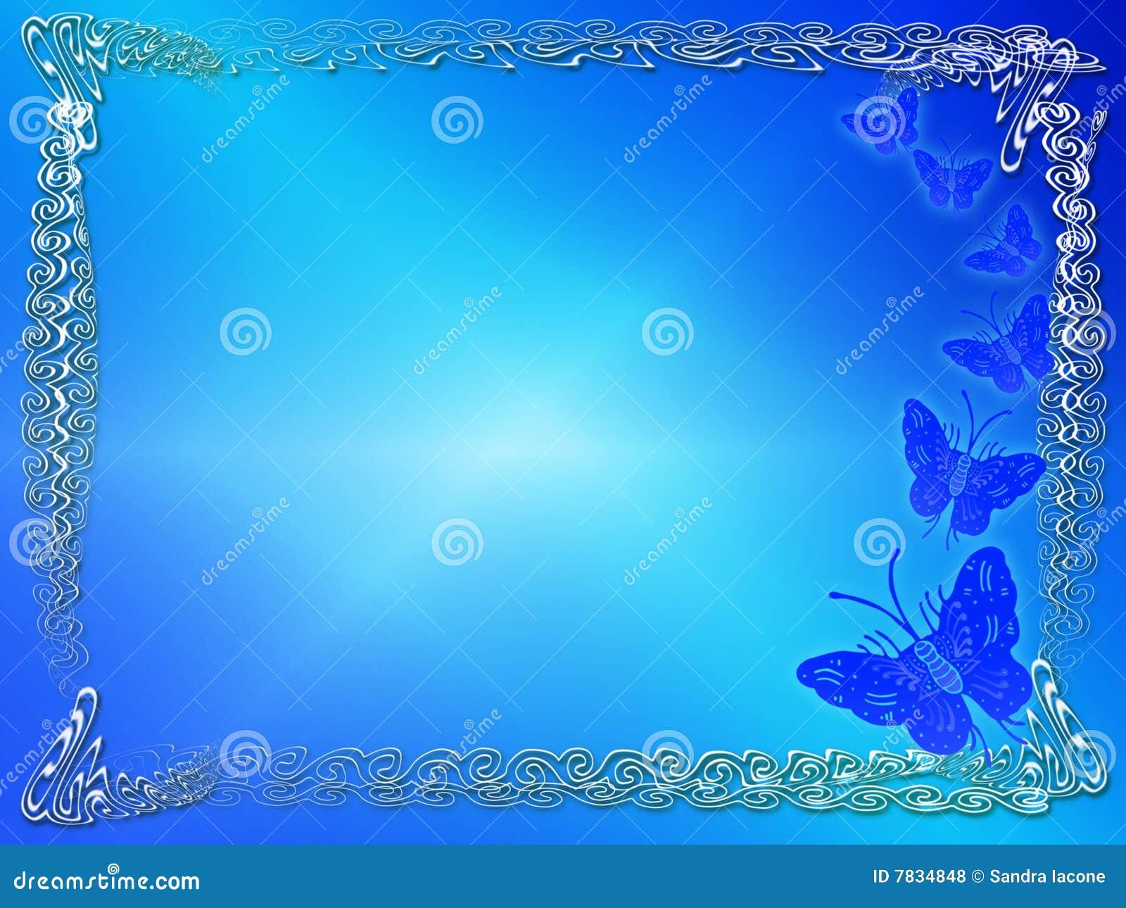 Frontera O Marco Azul De La Mariposa Stock de ilustración ...